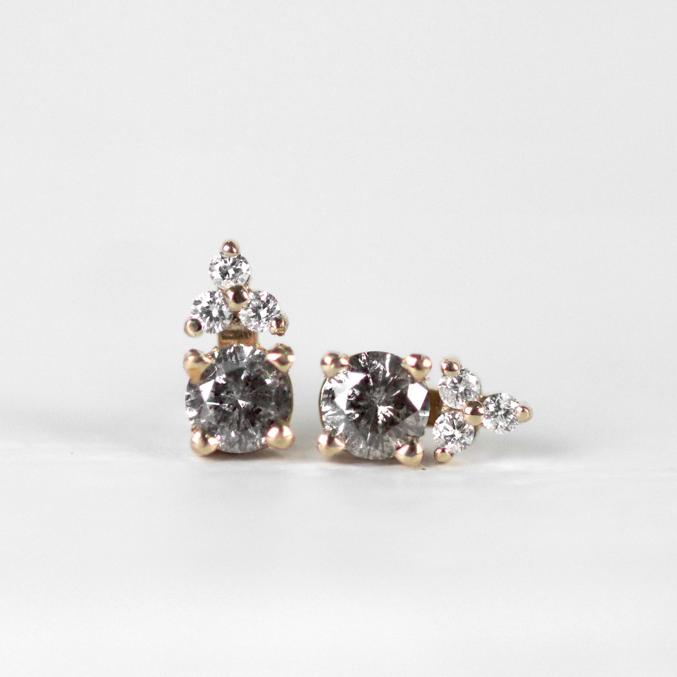 Gray Diamond Earring Studs in Gold - Celestial and Trio of 1.3mm Diamond Accent - One of a kind, ready to ship