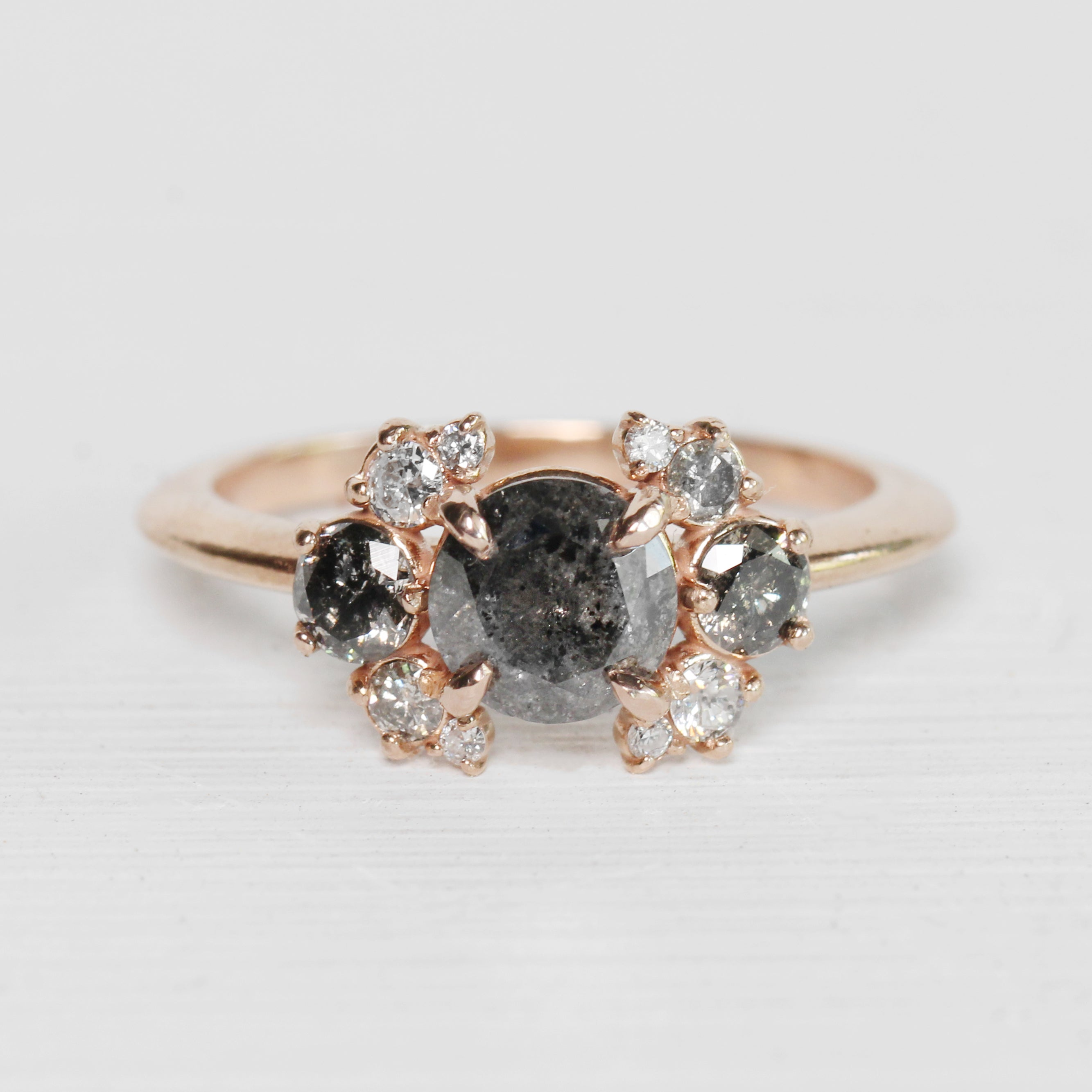 Eira - Diamond Cluster Ring in 10k Rose Gold - Ready to size and ship