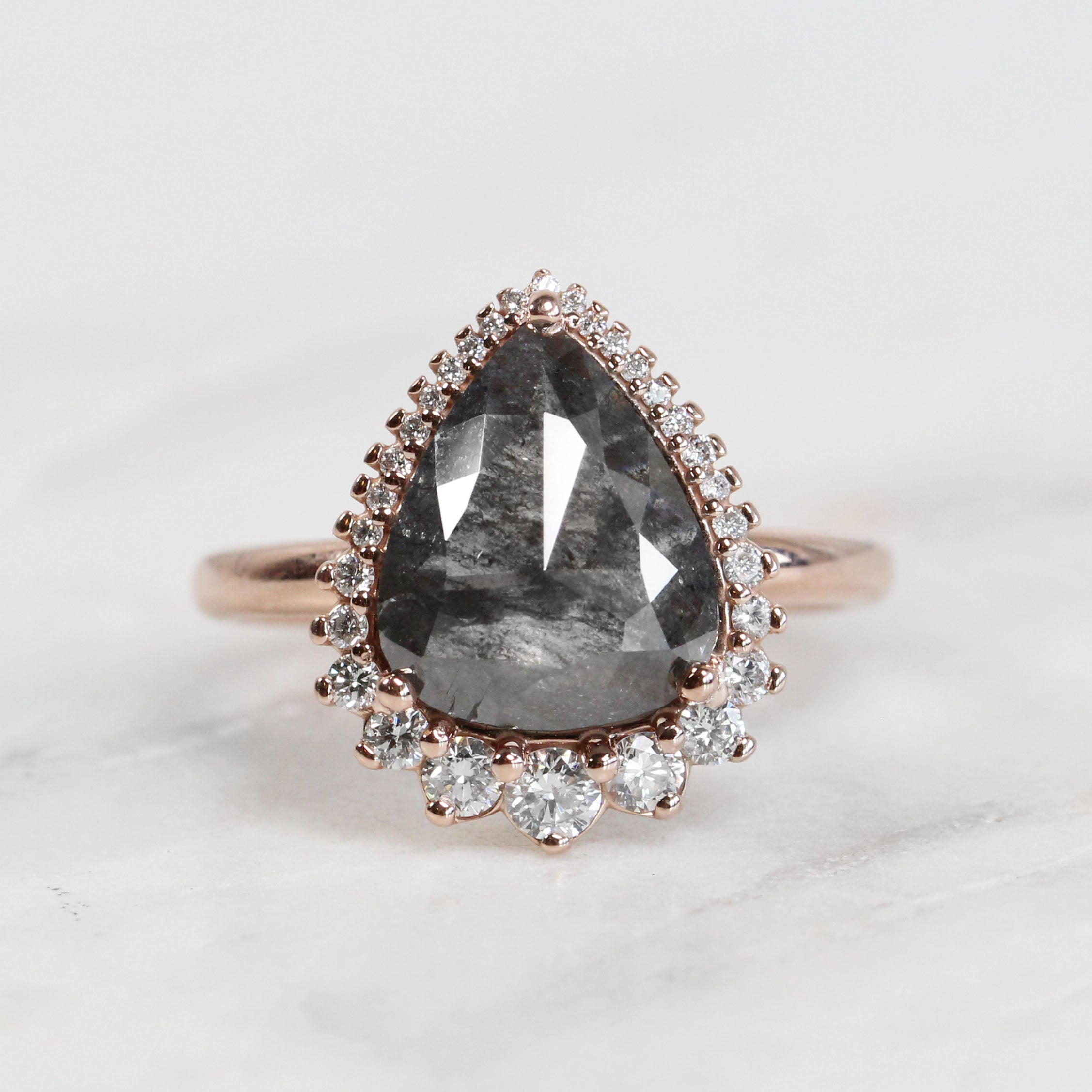 Eleanor Ring with 2.91 Carat Pear Celestial Diamond in 14k Rose Gold - Ready to Size and Ship - Salt & Pepper Celestial Diamond Engagement Rings and Wedding Bands  by Midwinter Co.