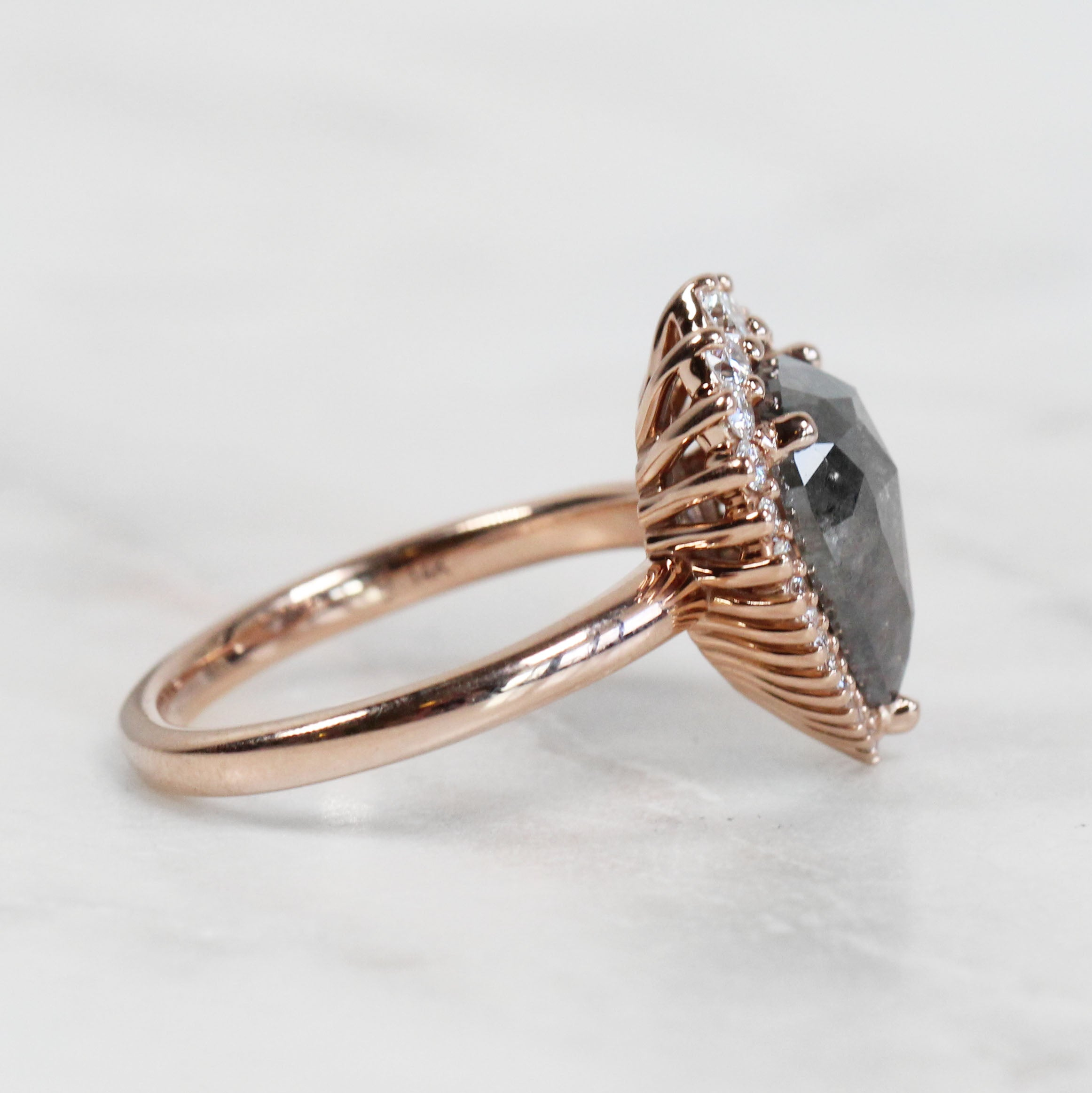 Eleanor Ring with 2.91 Carat Pear Celestial Diamond for Custom Work in 14k Rose Gold - Ready to Size and Ship - Celestial Diamonds ® by Midwinter Co.