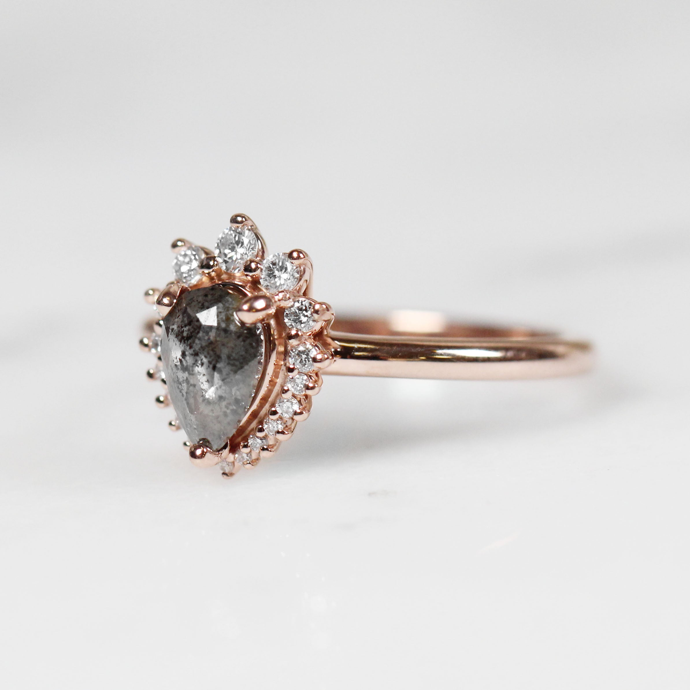 Eleanor Ring with .82 Carat Pear Diamond in 10k Rose Gold - Ready to Size and Ship - Celestial Diamonds ® by Midwinter Co.
