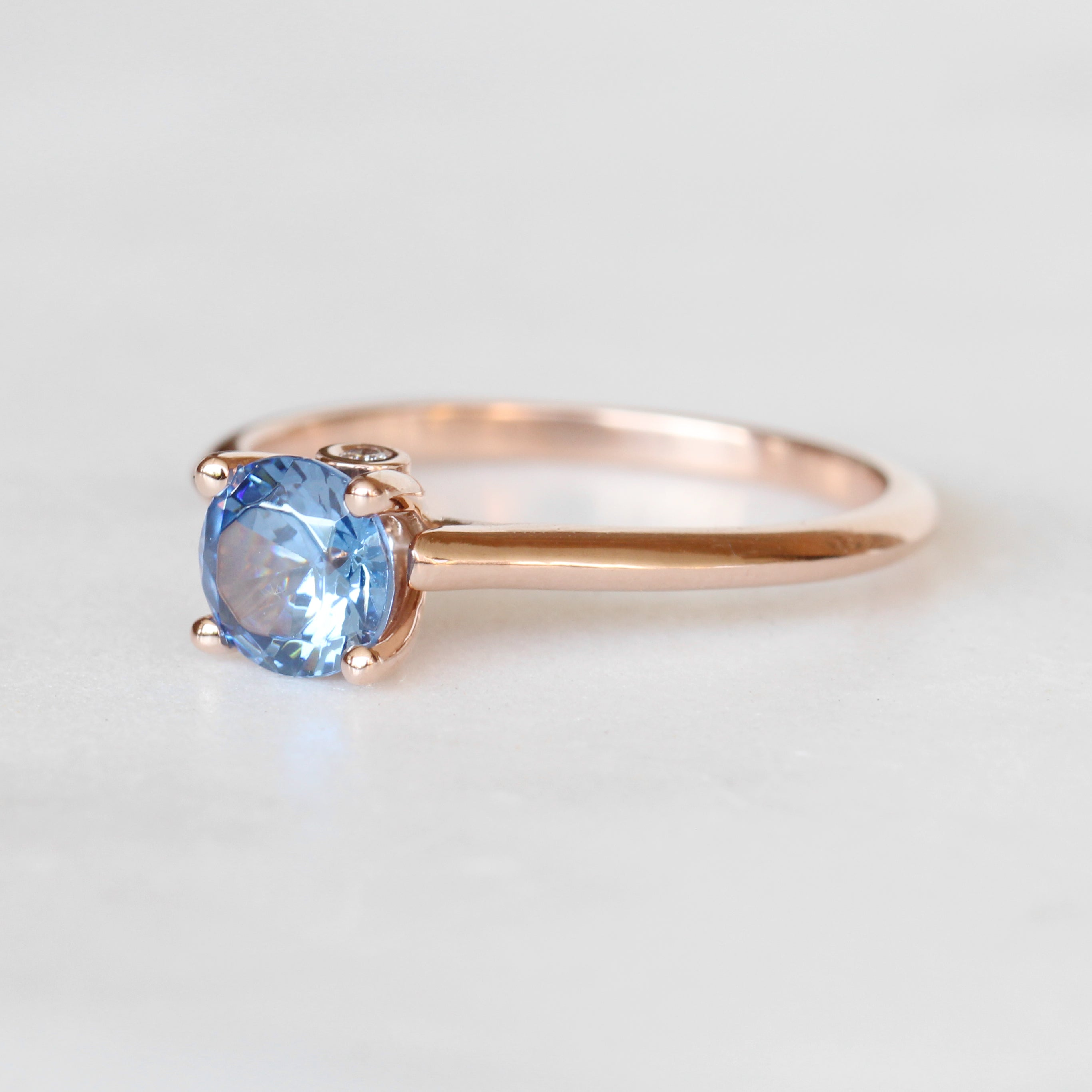 Eliza Ring with 1 carat Tanzanite and 2 diamonds in 14k rose gold - ready to size and ship - Salt & Pepper Celestial Diamond Engagement Rings and Wedding Bands  by Midwinter Co.