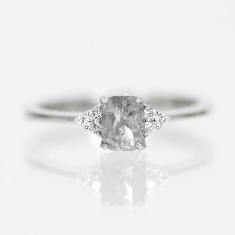 Imogene with Celestial Gray Emerald Cut Diamond in 10k White Gold Ring - Ready to Size and Ship