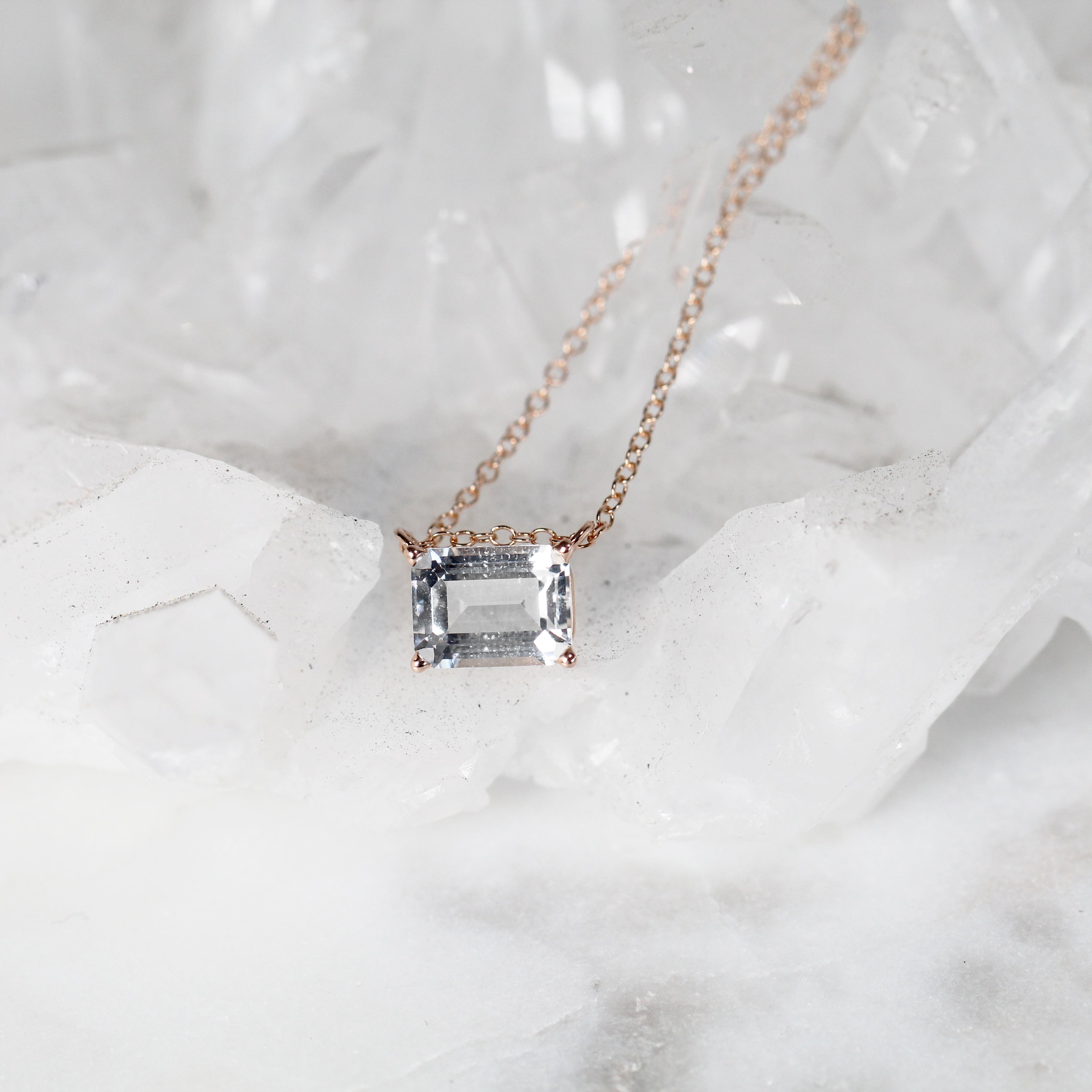 Emerald Cut Clear White Sapphire Pendant Necklace - 14k Gold of your choice - Celestial Diamonds ® by Midwinter Co.