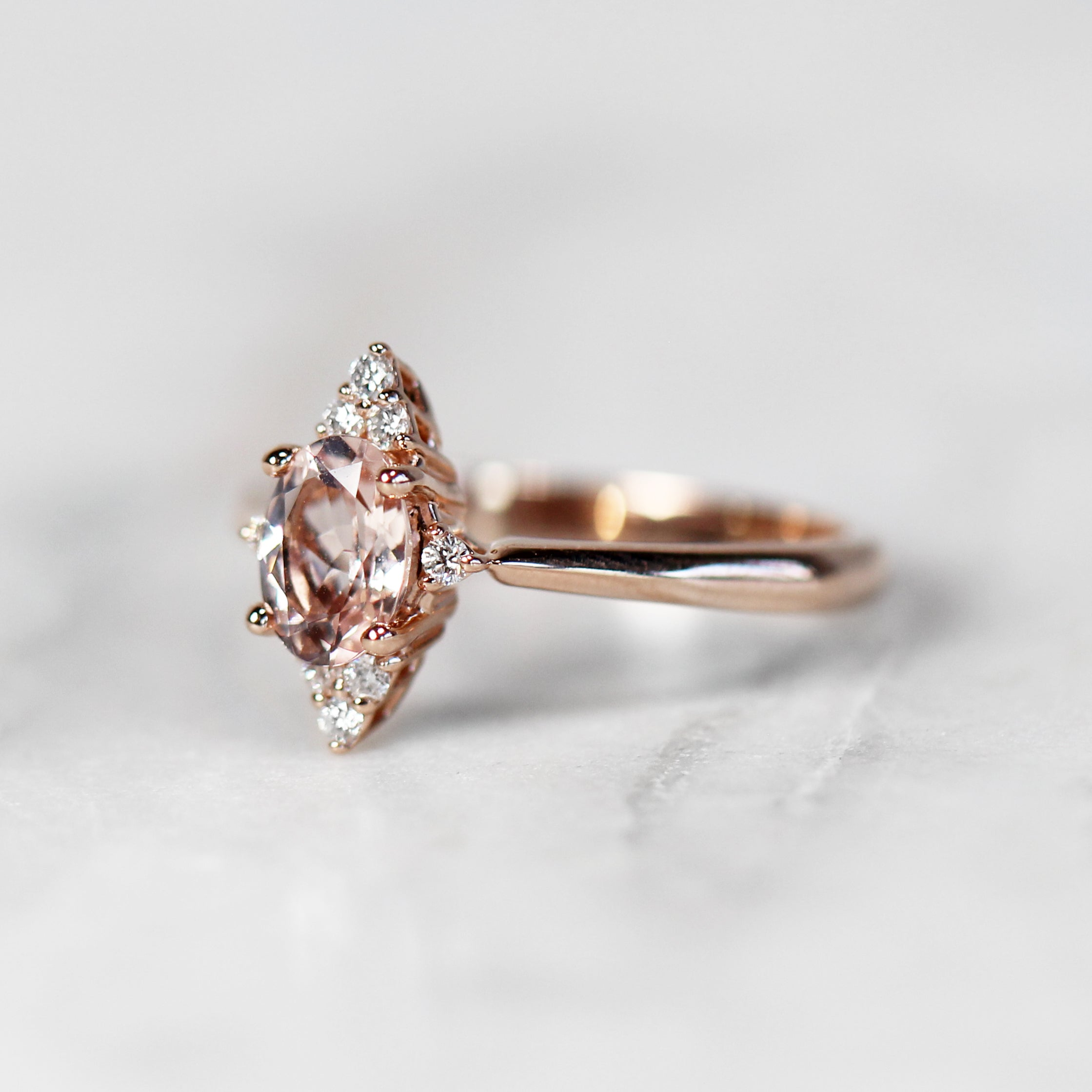 Emery Ring with 1.00 Carat Oval Morganite in 10k Rose Gold - Ready to Size and Ship - Celestial Diamonds ® by Midwinter Co.