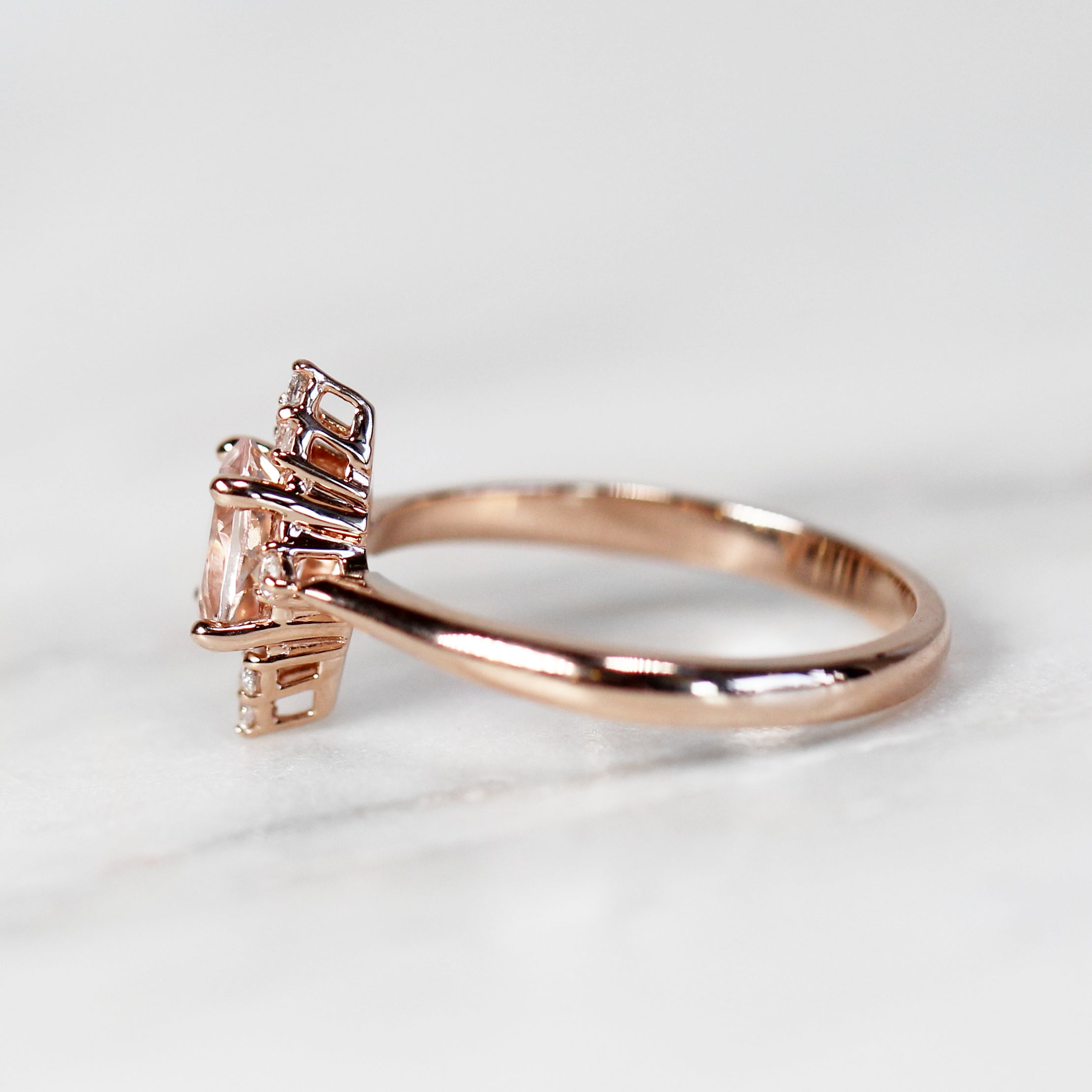 Emery Ring with 1.00 Carat Oval Morganite in 10k Rose Gold - Ready to Size and Ship - Midwinter Co. Alternative Bridal Rings and Modern Fine Jewelry