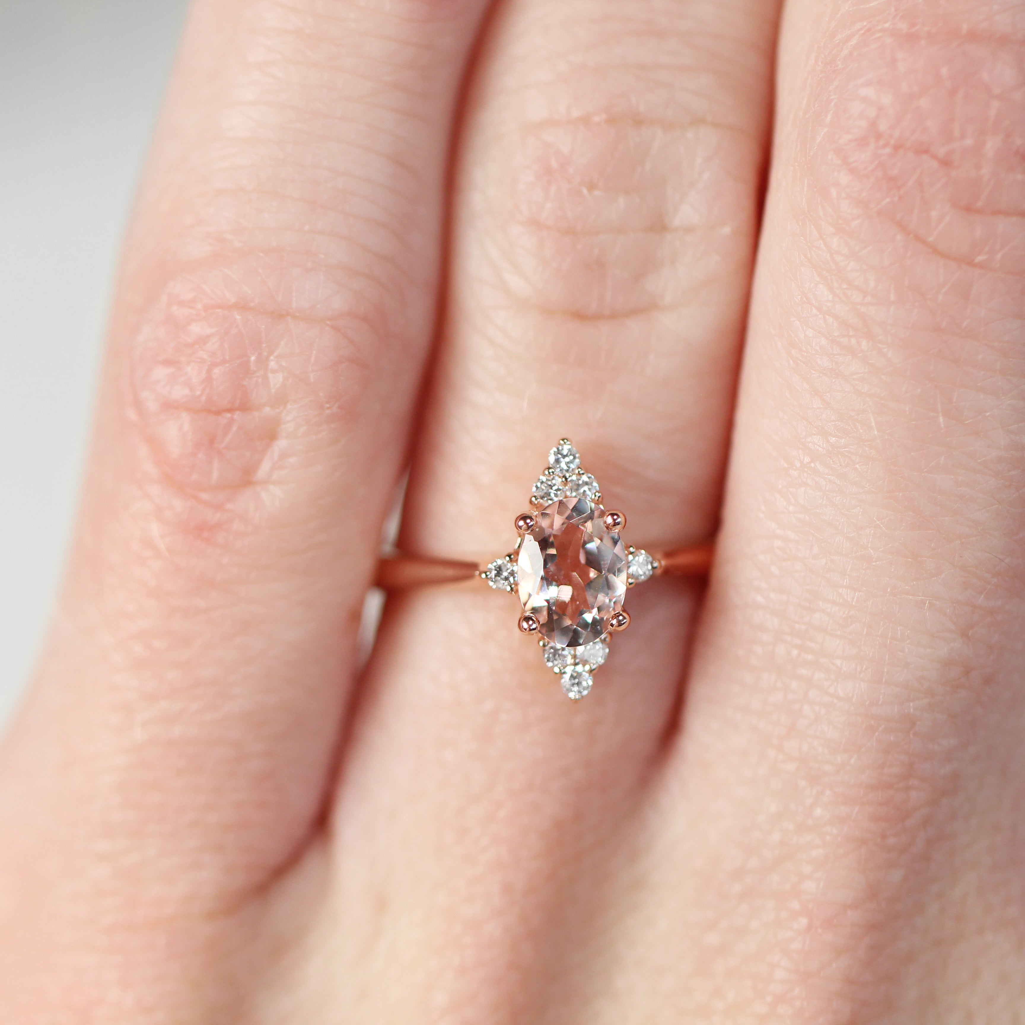 Emery Ring with 1.00 Carat Oval Morganite in 10k Rose Gold - Ready to Size and Ship - Salt & Pepper Celestial Diamond Engagement Rings and Wedding Bands  by Midwinter Co.