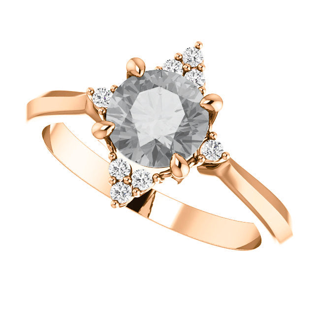Emery Setting - Salt & Pepper Celestial Diamond Engagement Rings and Wedding Bands  by Midwinter Co.