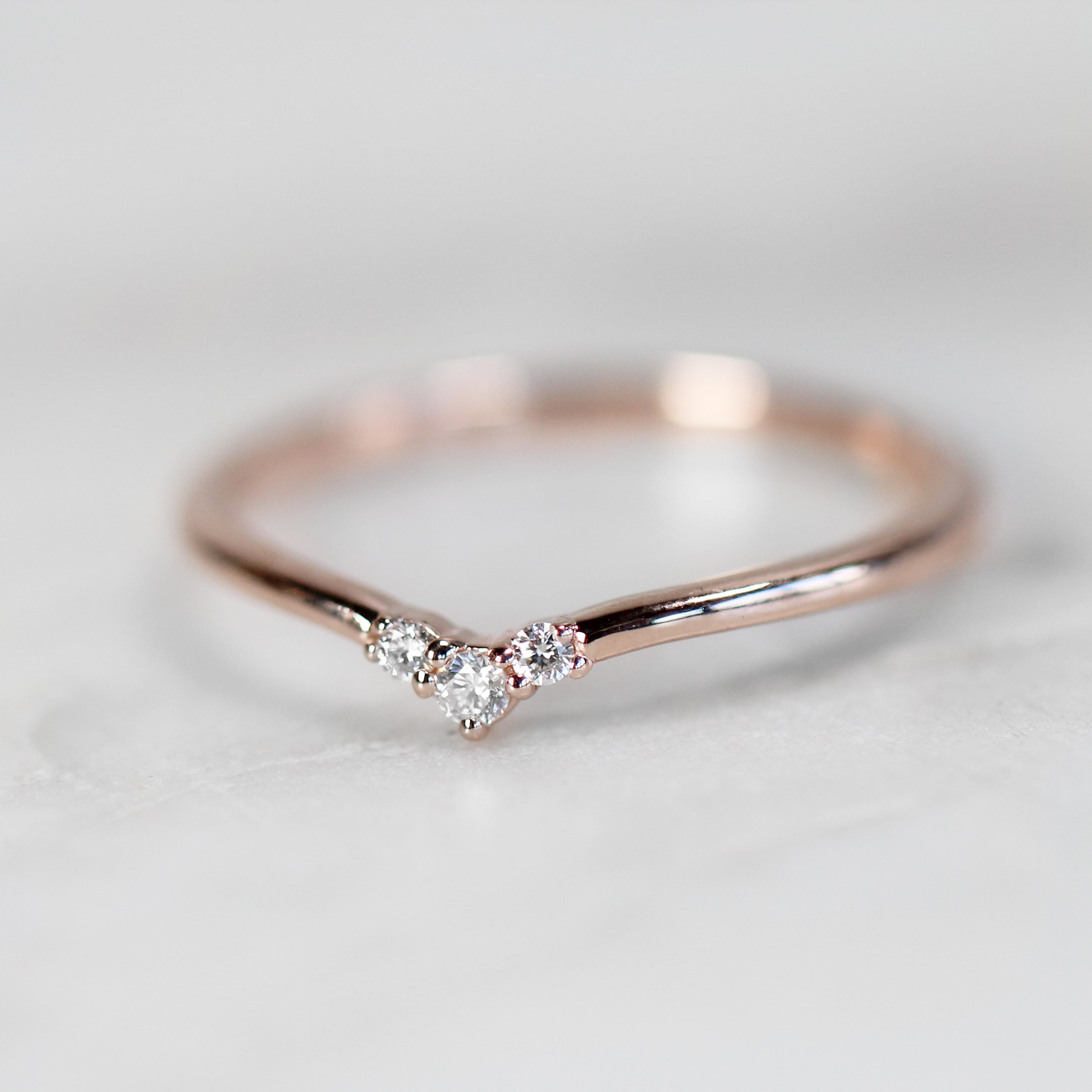 Emmie Contour Point Diamond Wedding Band - Salt & Pepper Celestial Diamond Engagement Rings and Wedding Bands  by Midwinter Co.