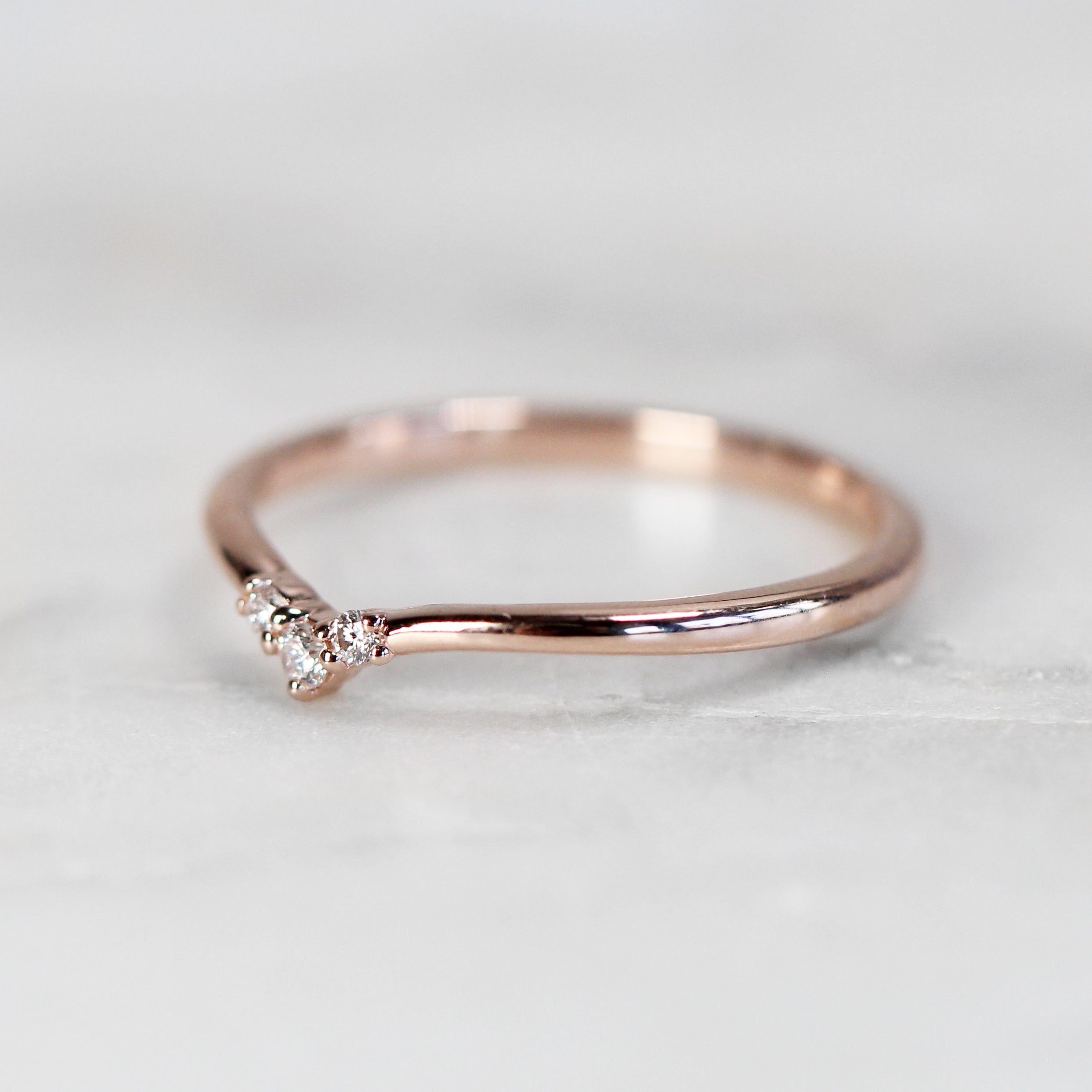 Emmie Contour Point Diamond Wedding Band - Midwinter Co. Alternative Bridal Rings and Modern Fine Jewelry