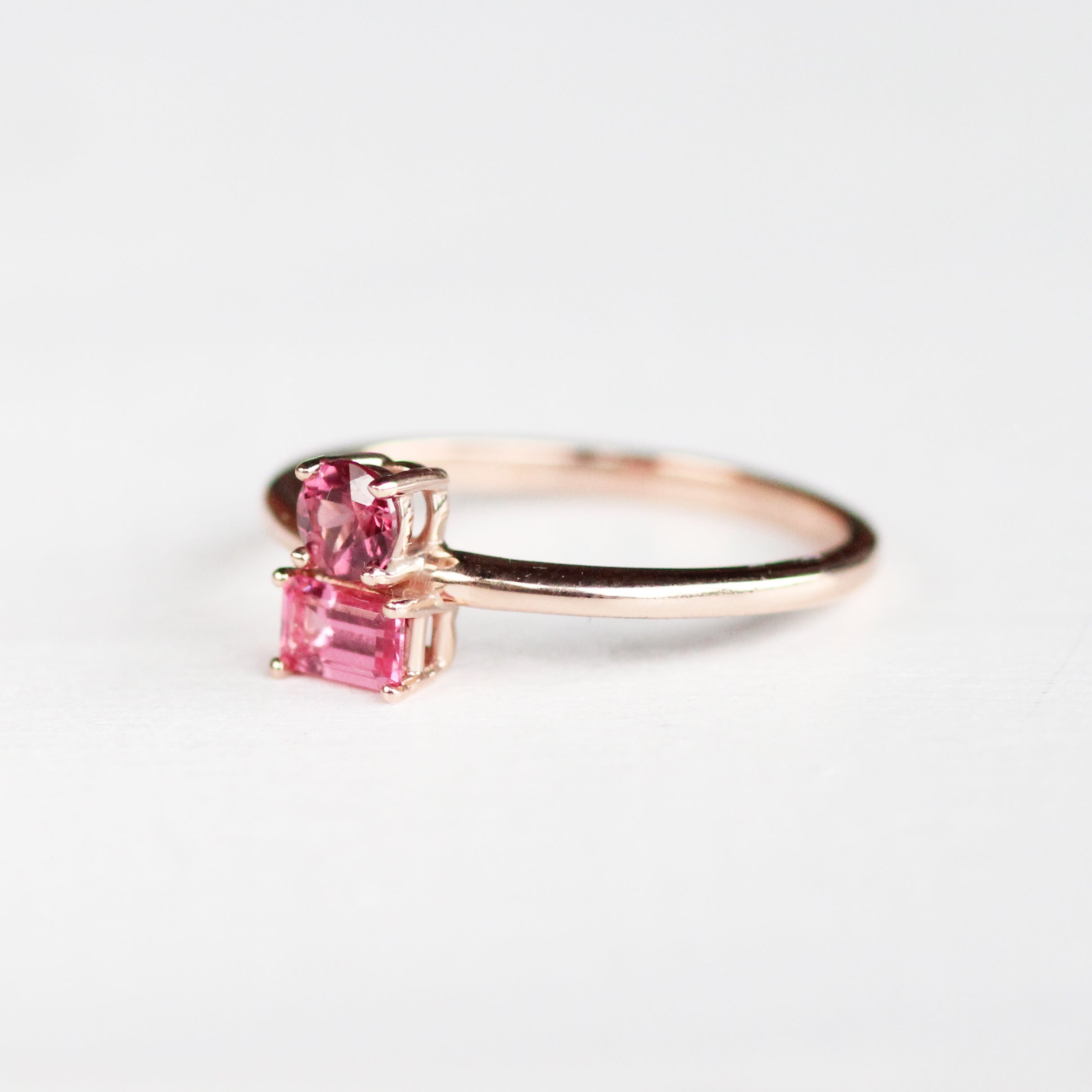 Daria Garnet and Spinel Asymmetrical Double Ring - Your choice of metal - Custom - Celestial Diamonds ® by Midwinter Co.