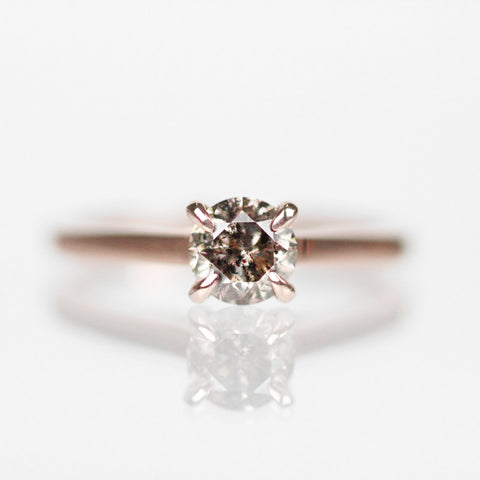 Enda - .60 carat Champagne clear diamond ring with hidden black diamonds in 14k rose gold - ready to size and ship