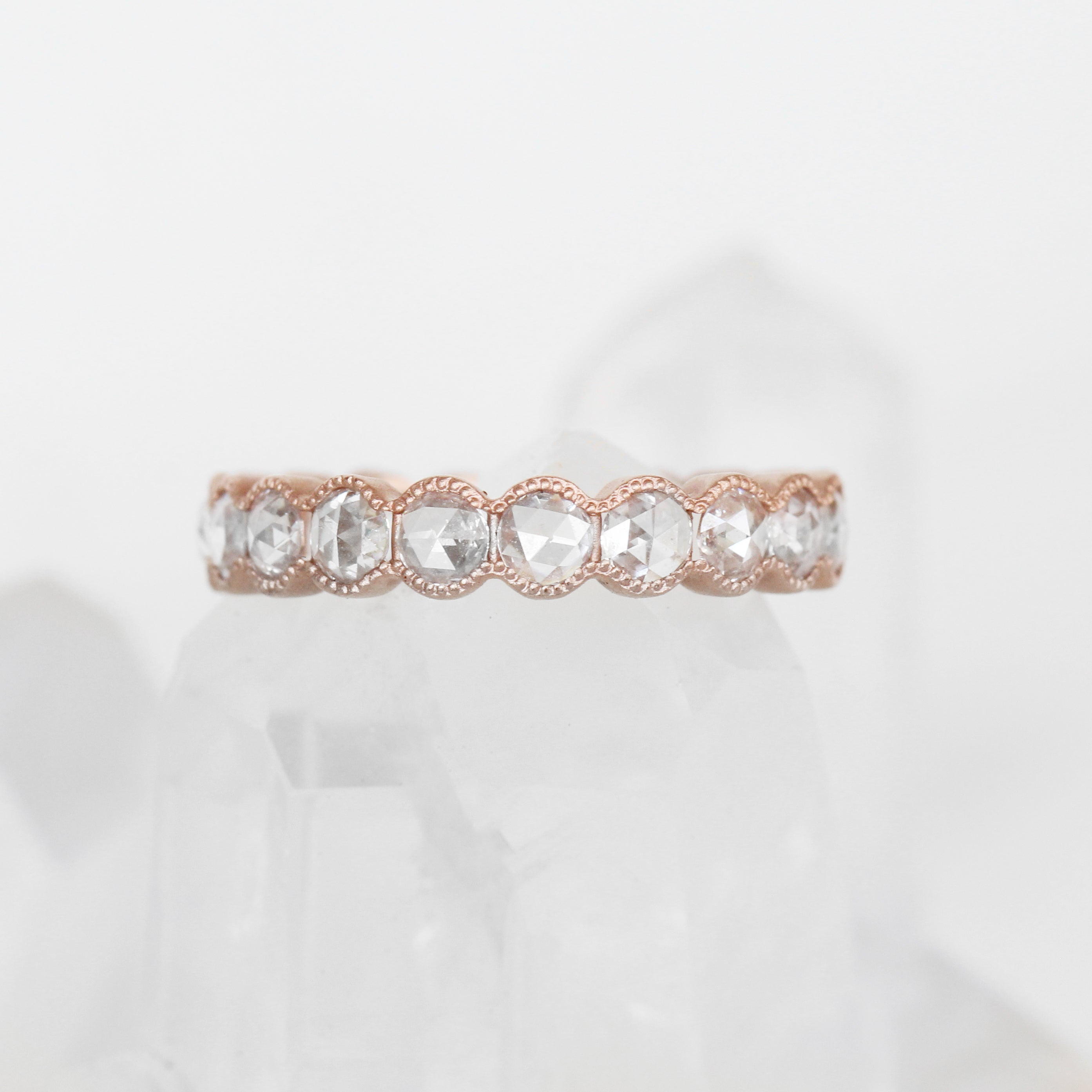 Penelope Rose Cut Milgrain Antique Style Bezel Diamond Engagement Ring Band - Salt & Pepper Celestial Diamond Engagement Rings and Wedding Bands  by Midwinter Co.