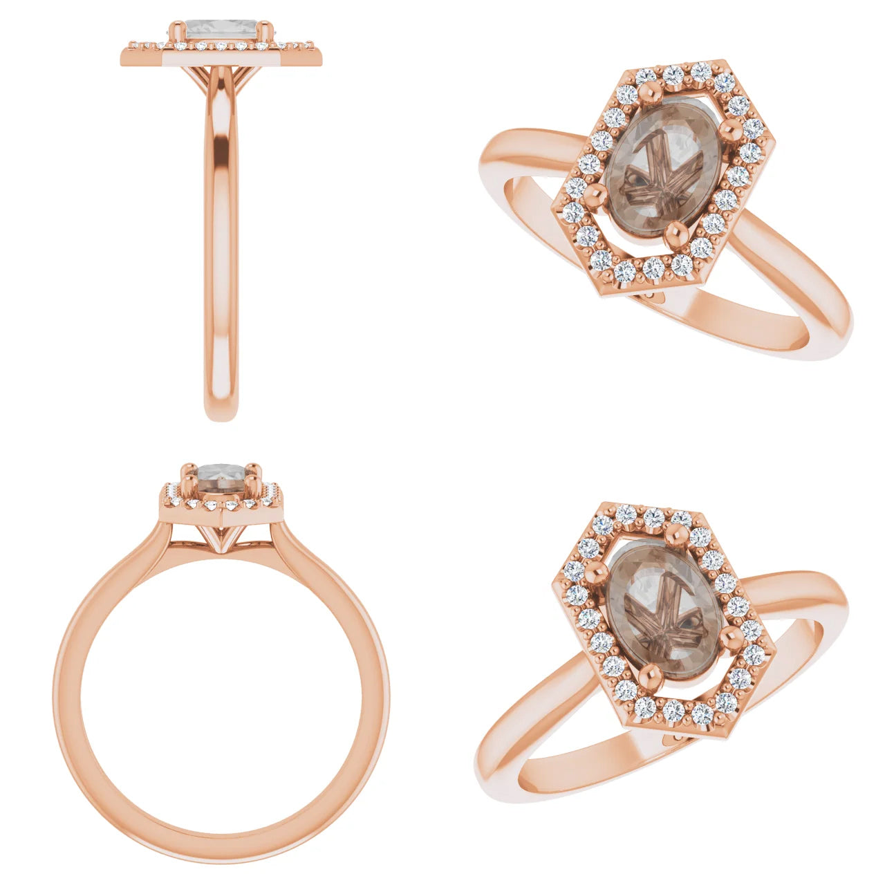 Etta Setting - Salt & Pepper Celestial Diamond Engagement Rings and Wedding Bands  by Midwinter Co.