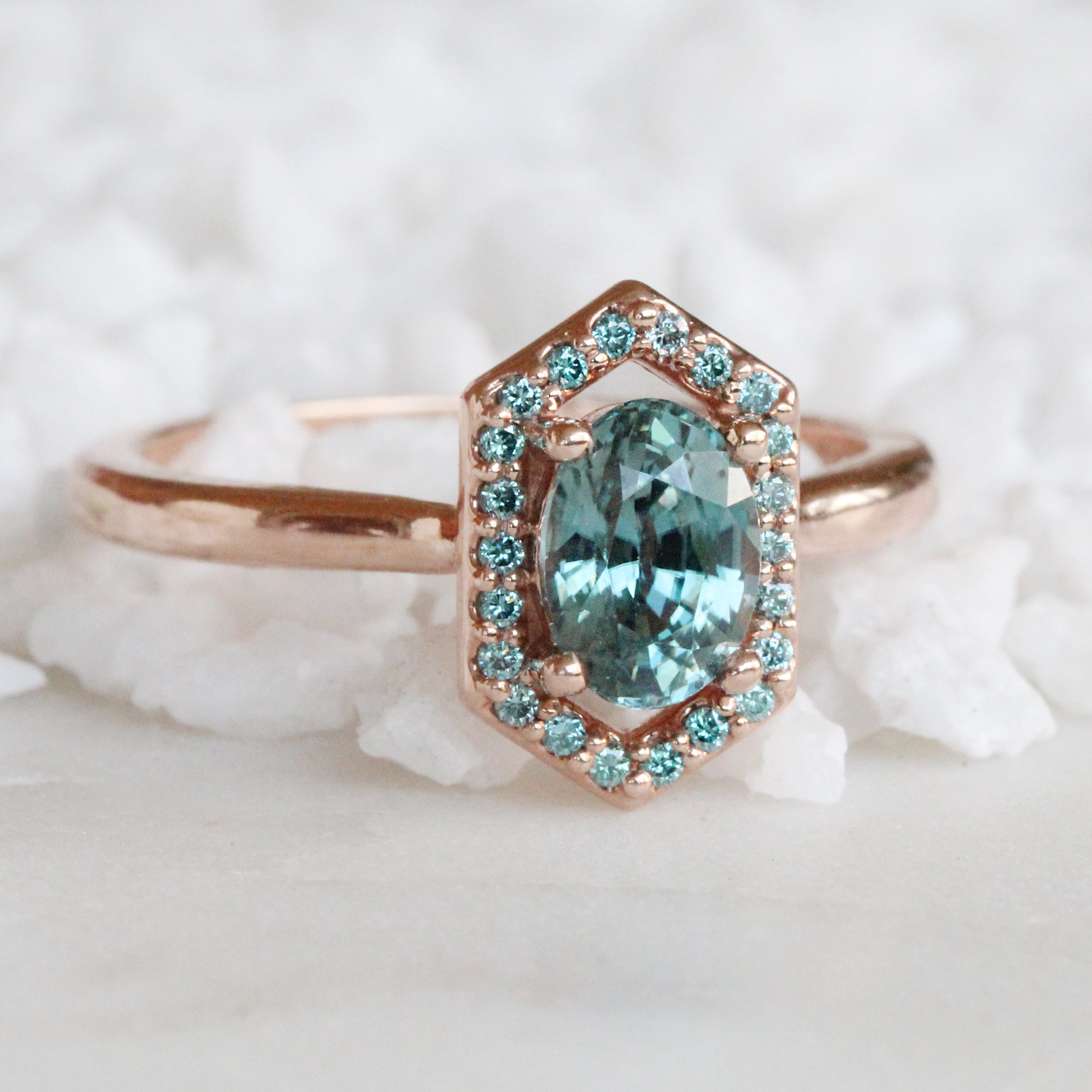 Etta ring with blue zircon and aqua diamonds - 14k gold of choice - made to order - Salt & Pepper Celestial Diamond Engagement Rings and Wedding Bands  by Midwinter Co.