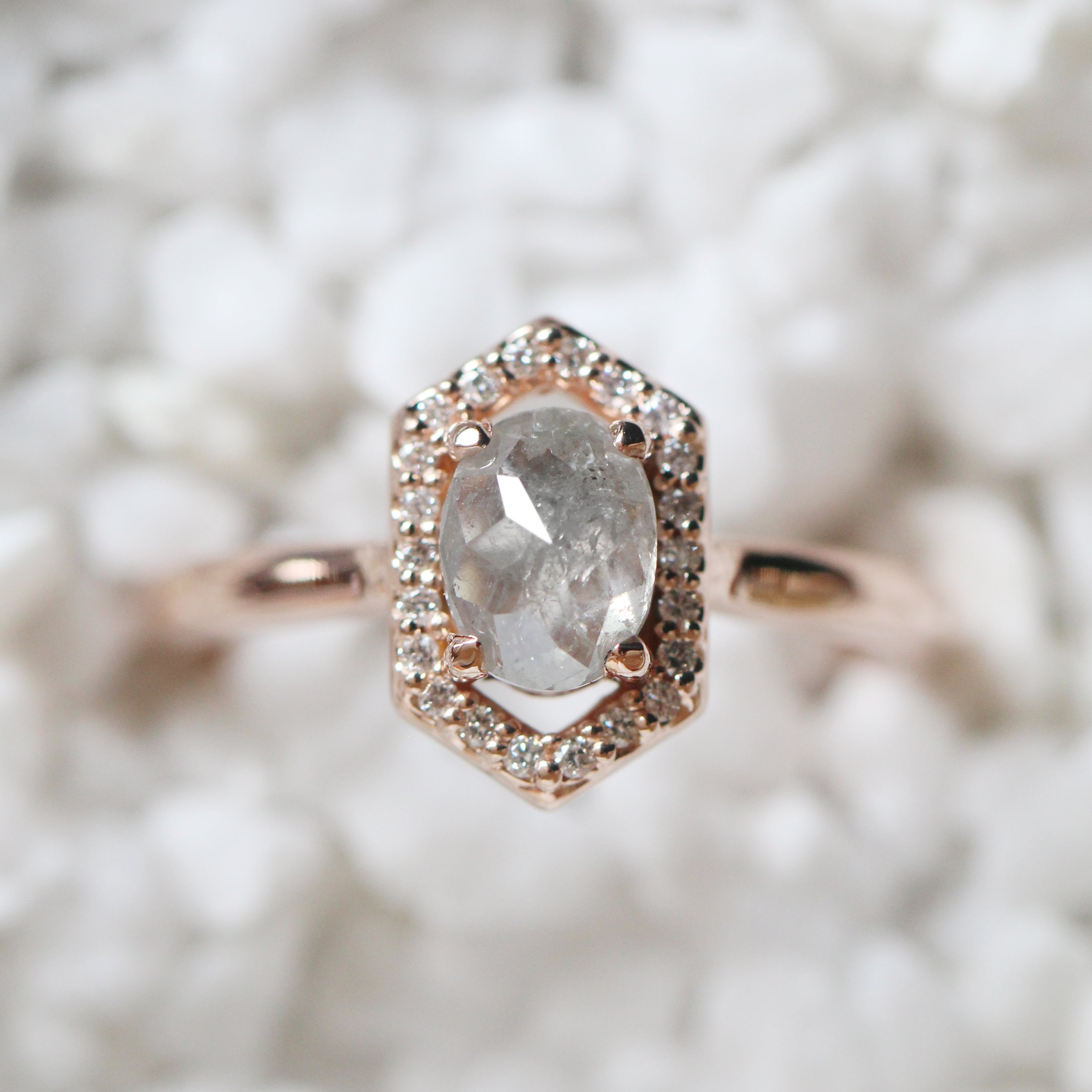 Etta Ring with a .84 carat rose cut oval celestial diamond white diamonds in 14k rose gold - ready to size and ship - Salt & Pepper Celestial Diamond Engagement Rings and Wedding Bands  by Midwinter Co.