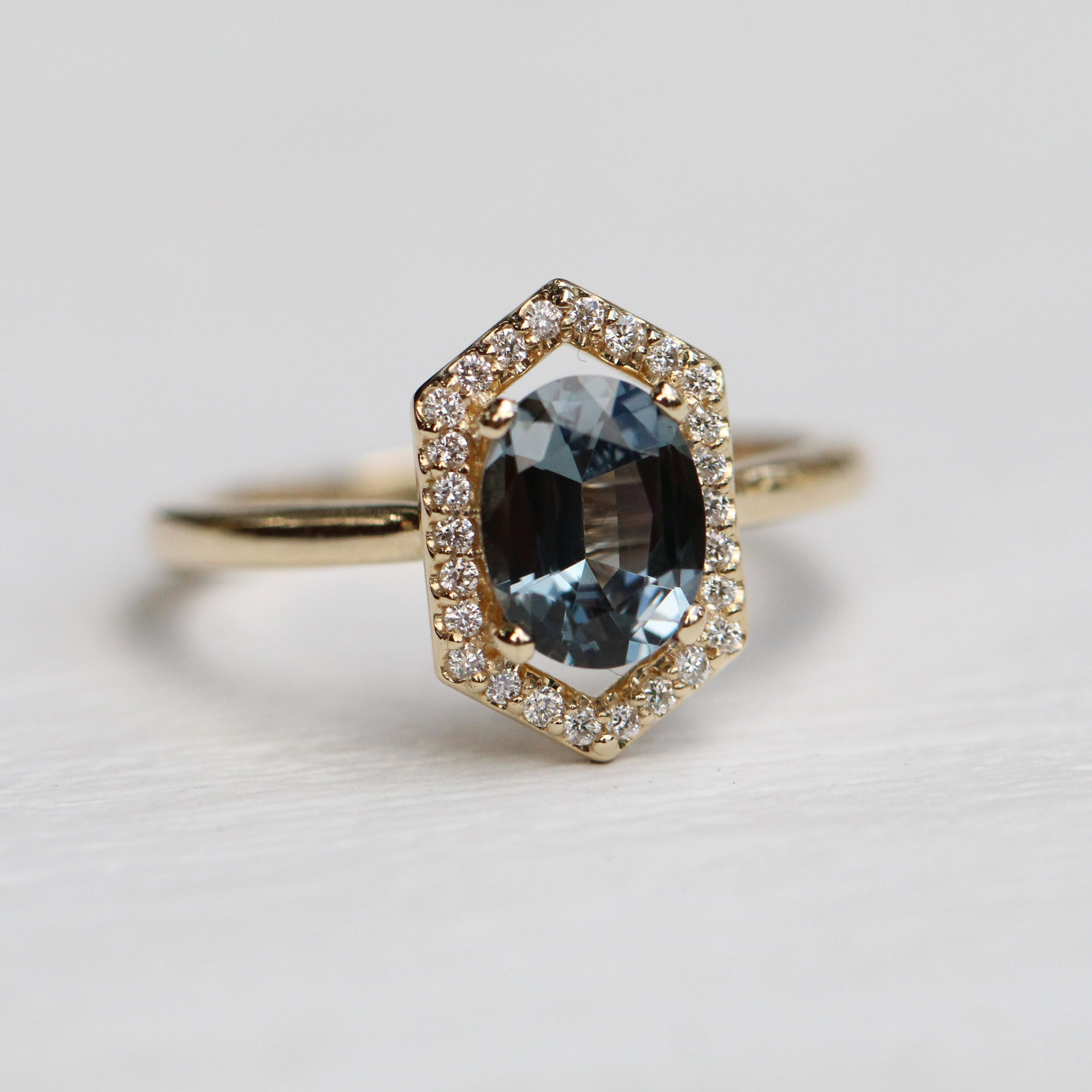 Etta Ring with a 1.25 Carat Oval Spinel and Diamond Halo in 14k Yellow Gold - Ready to Size and Ship - Midwinter Co. Alternative Bridal Rings and Modern Fine Jewelry