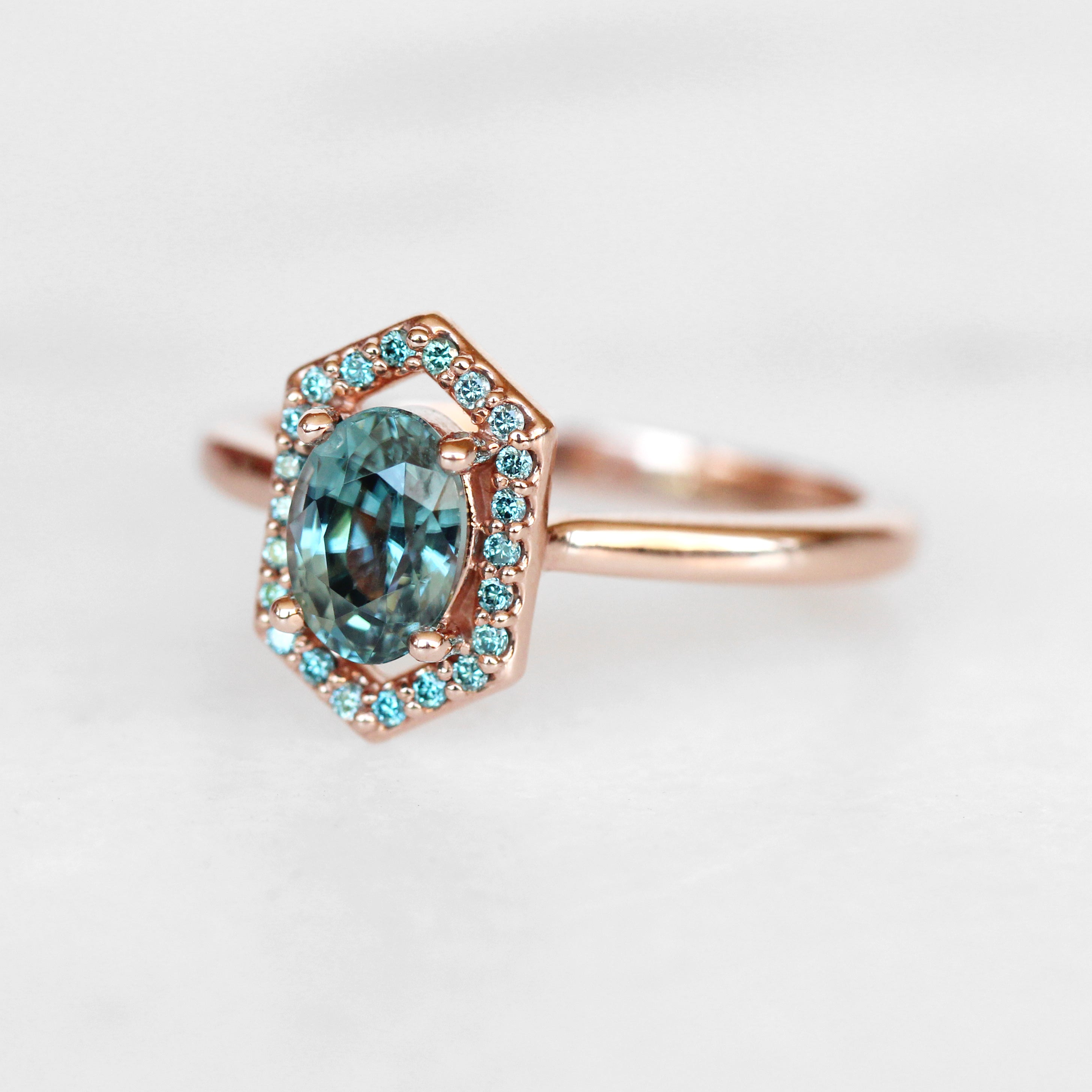 Etta ring with blue zircon and aqua diamonds - 14k gold of choice - made to order - Celestial Diamonds ® by Midwinter Co.