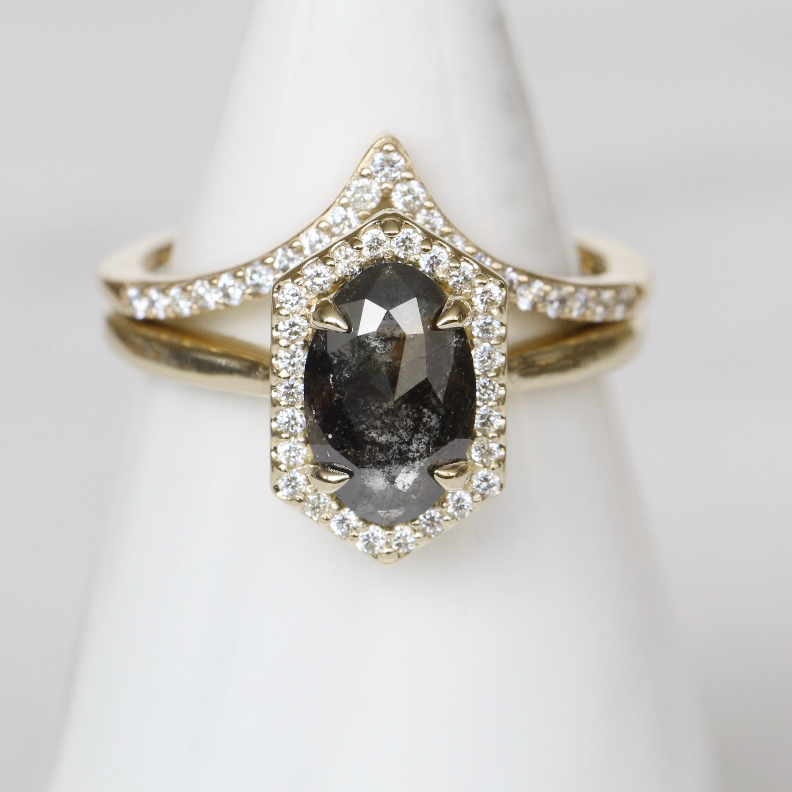 Etta Ring with a 1.06 carat rose cut oval celestial diamond white diamonds in 14k yellow gold - ready to size and ship - Celestial Diamonds ® by Midwinter Co.