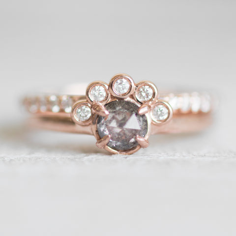 Evegwen - Rose Cut Celestial Diamond Ring - Half Halo Asymmetrical - Ready to size and ship