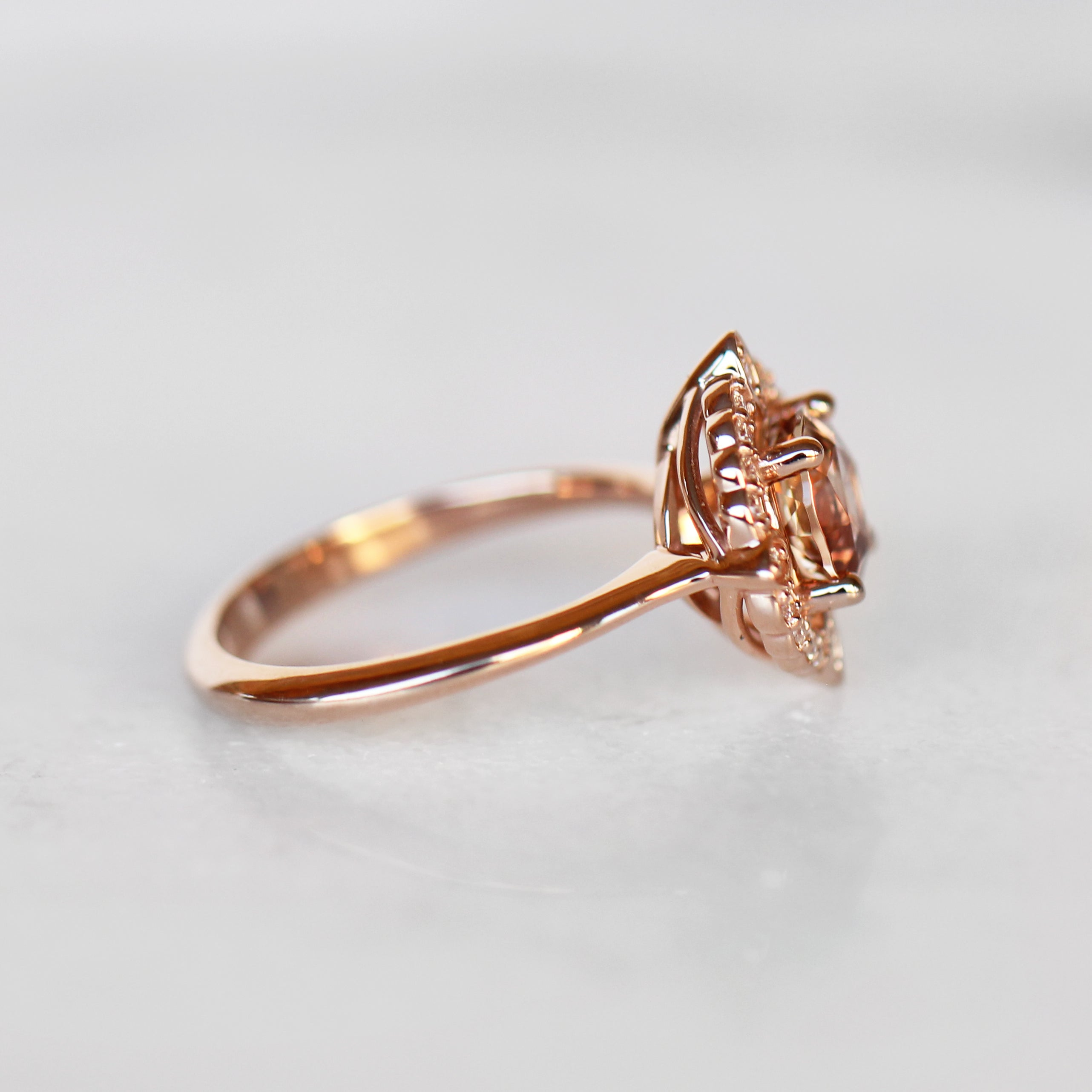Compass Ring with 1.07 Carat Round Sunstone in 10k Rose Gold- Ready to Size and Ship - Celestial Diamonds ® by Midwinter Co.