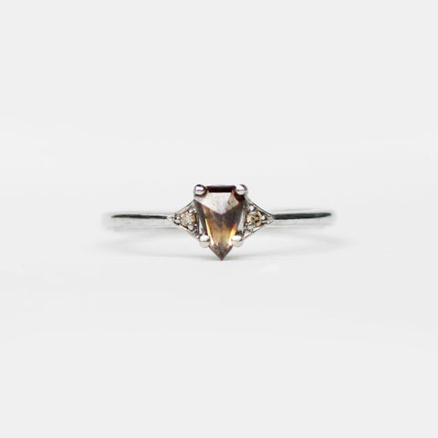 Fenly with Cognac Geometric Pear and Champagne Diamonds in 14k White Gold - Ready to size and ship