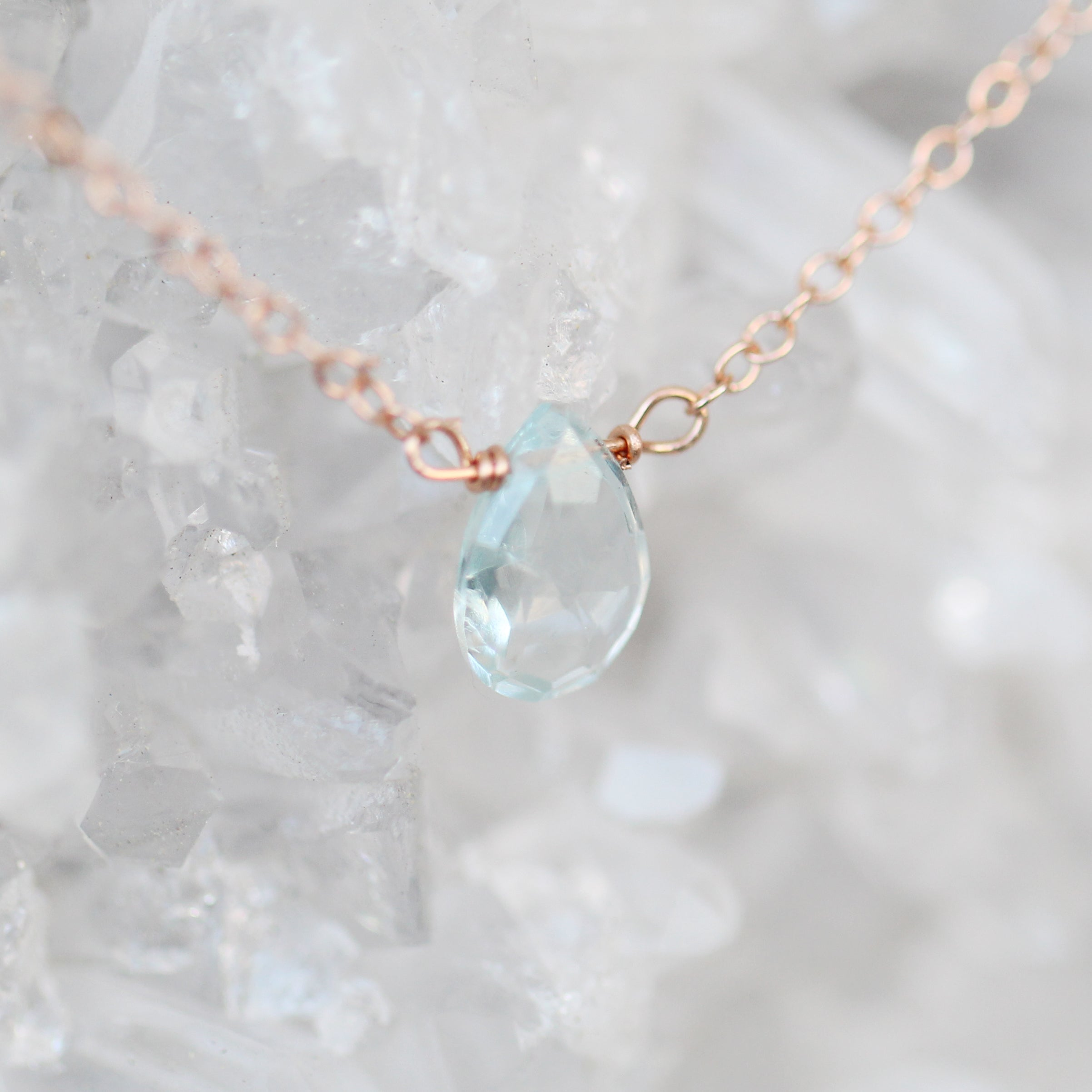 "Petite Fine Aquamarine Teardrop Necklace on a 14k Gold Fill 18"" Chain - Midwinter Co. Alternative Bridal Rings and Modern Fine Jewelry"