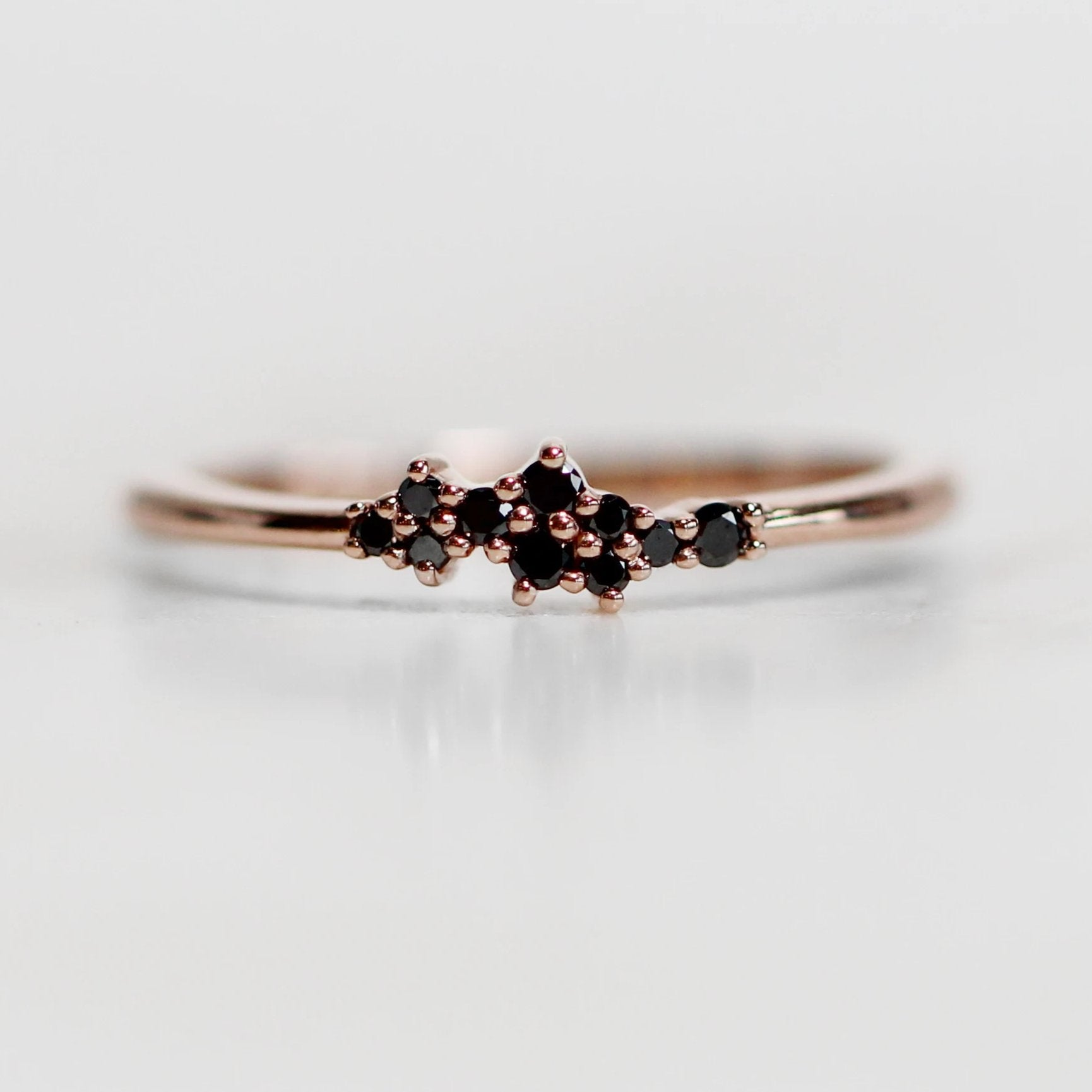 Fiona - Cluster style black diamond band - Salt & Pepper Celestial Diamond Engagement Rings and Wedding Bands  by Midwinter Co.
