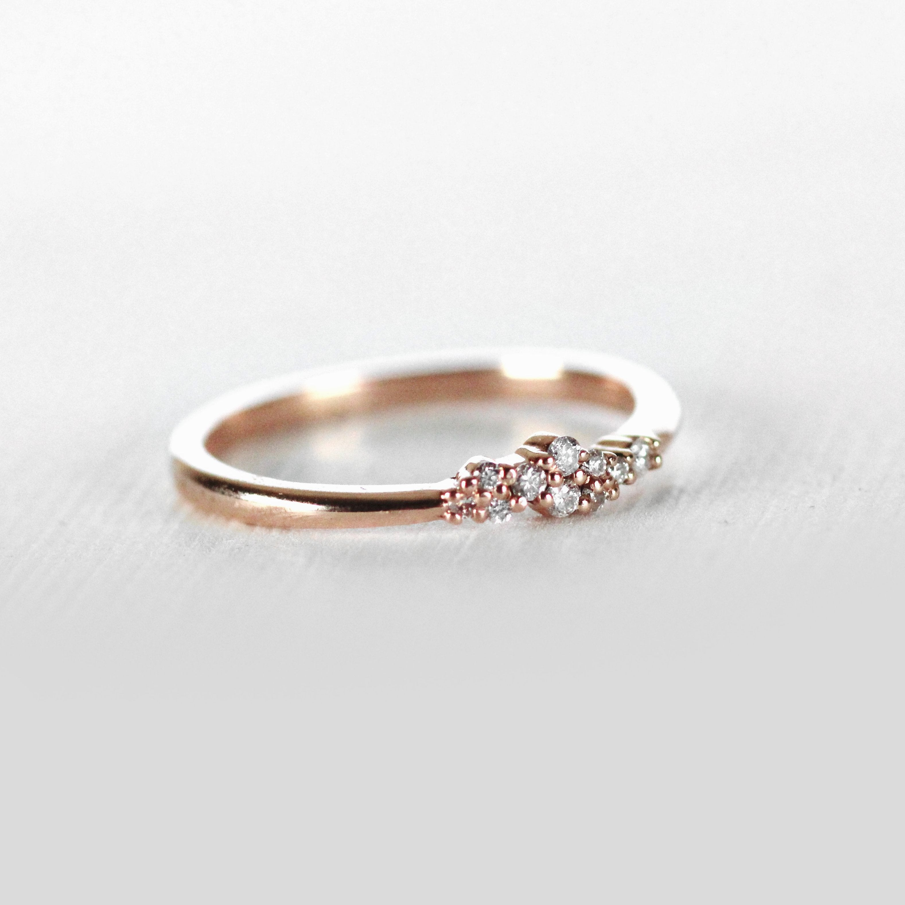 Fiona Cluster Style Ring - Diamond Stackable Band in 10k Rose or Yellow - Ready to Size and Ship - Salt & Pepper Celestial Diamond Engagement Rings and Wedding Bands  by Midwinter Co.