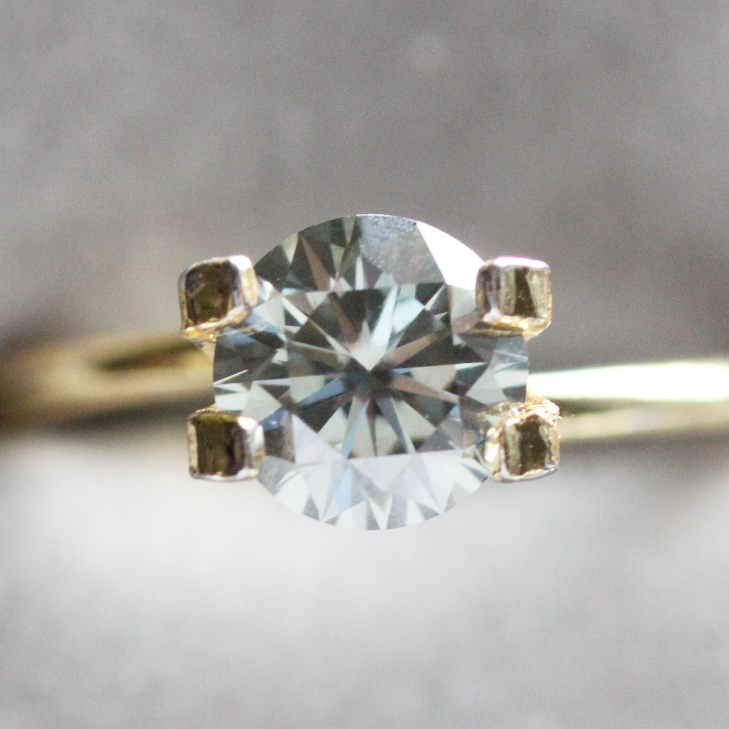 6.5mm 1 carat Clear Gray Moissanite - Inventory Code GBM1 - Midwinter Co. Alternative Bridal Rings and Modern Fine Jewelry