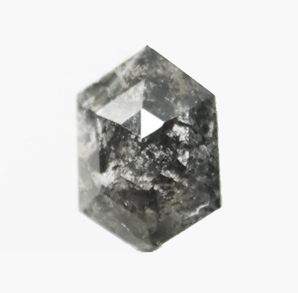 .68 carat Hexagon Diamond - Charcoal gray black Celestial Salt and Pepper - Rose cut - Inventory Code GHEX68
