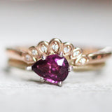 Vintage Band with Raspberry Pear Shaped Rhodolite Garnet in 14K White and Yellow Gold - Ready to size and ship