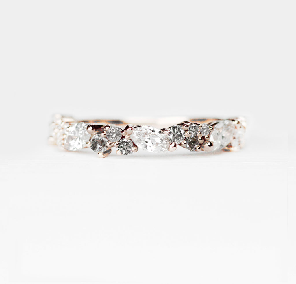 Genevieve Diamond Engagement Ring Band - White + Gray diamonds