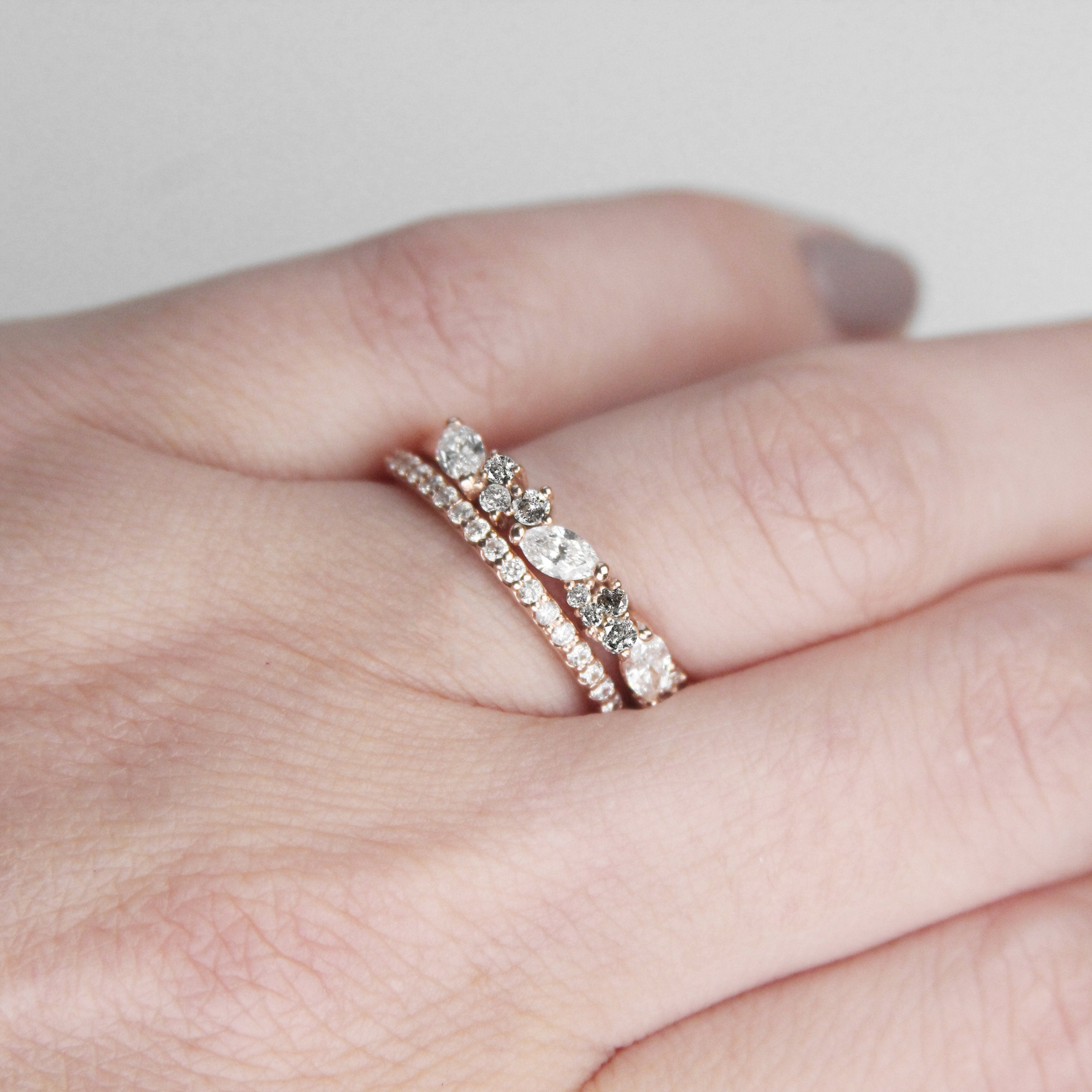 Genevieve Diamond Engagement Ring Band - White + Gray diamonds - Salt & Pepper Celestial Diamond Engagement Rings and Wedding Bands  by Midwinter Co.