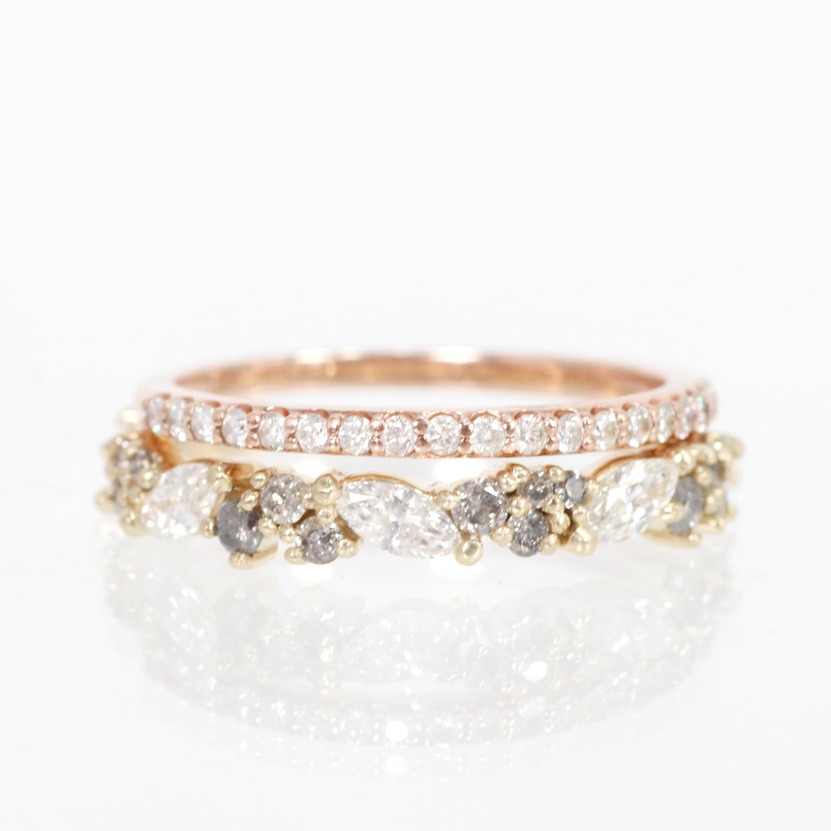 Genevieve Diamond Engagement Ring Band - White + Gray diamonds - Celestial Diamonds ® by Midwinter Co.