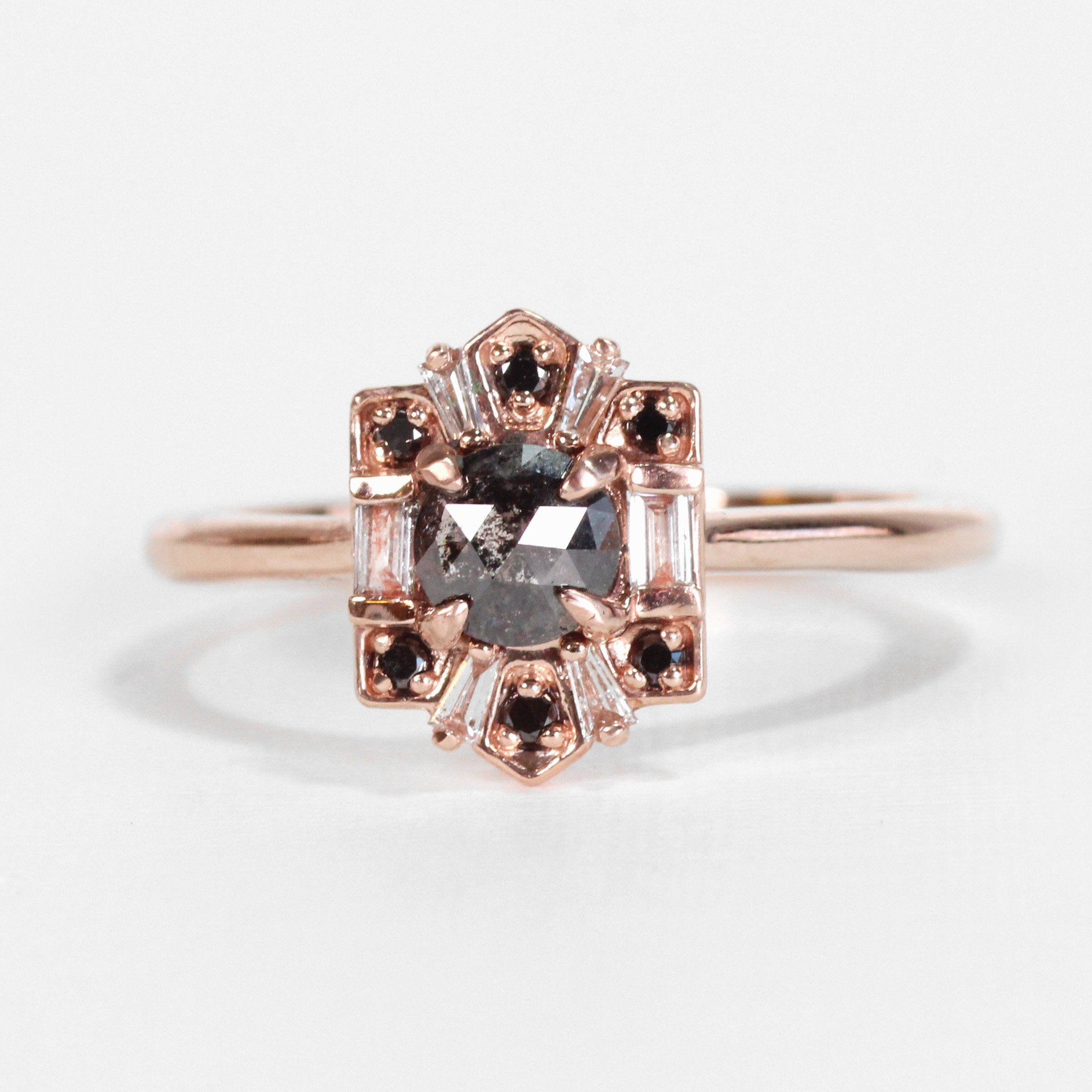 Geraldine Ring with a Black Diamond and Diamond Accents in 10k Rose Gold - Ready to Size and Ship