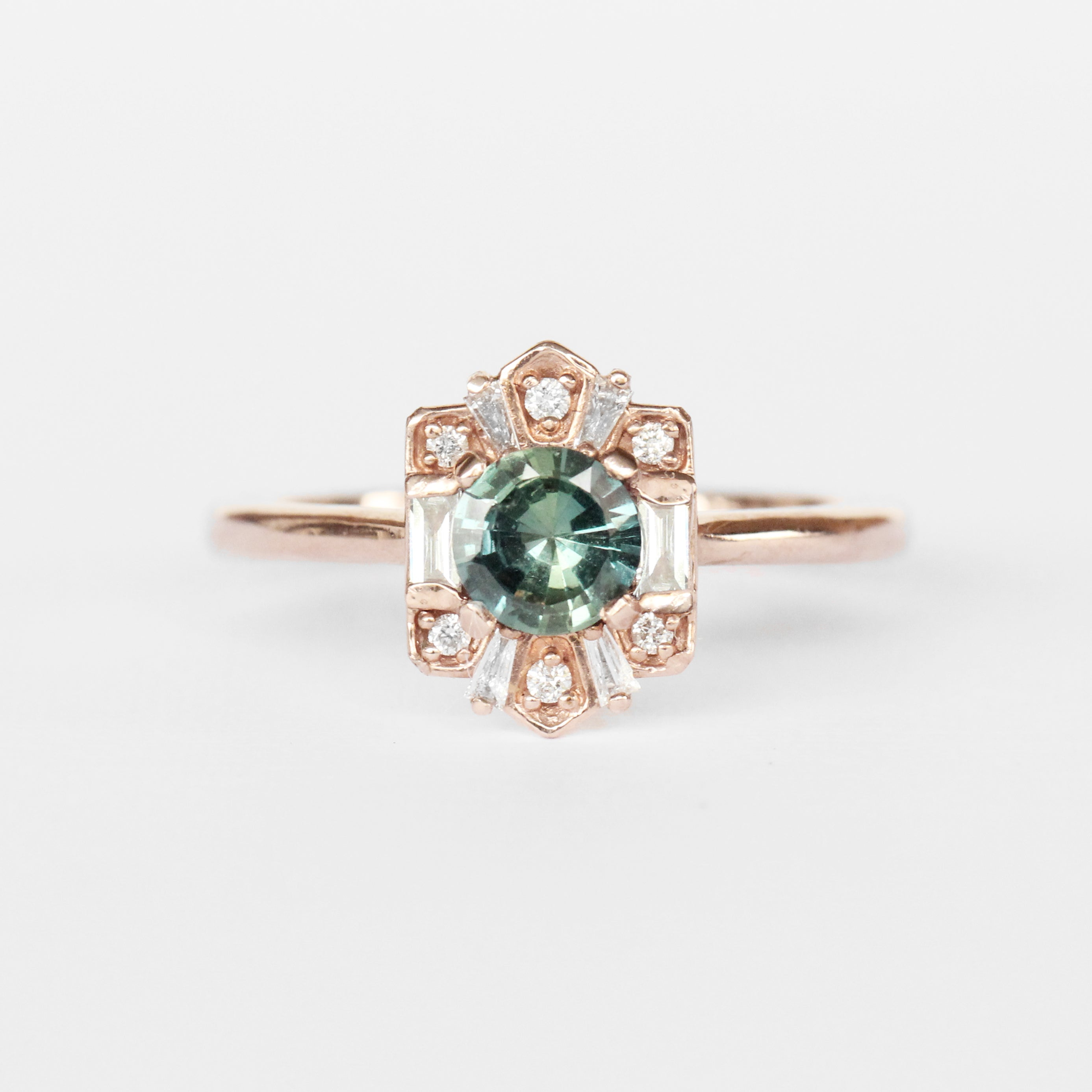 Geraldine Ring with a Peacock Sapphire and Diamond Accents in 10k Rose Gold - Ready to Size and Ship