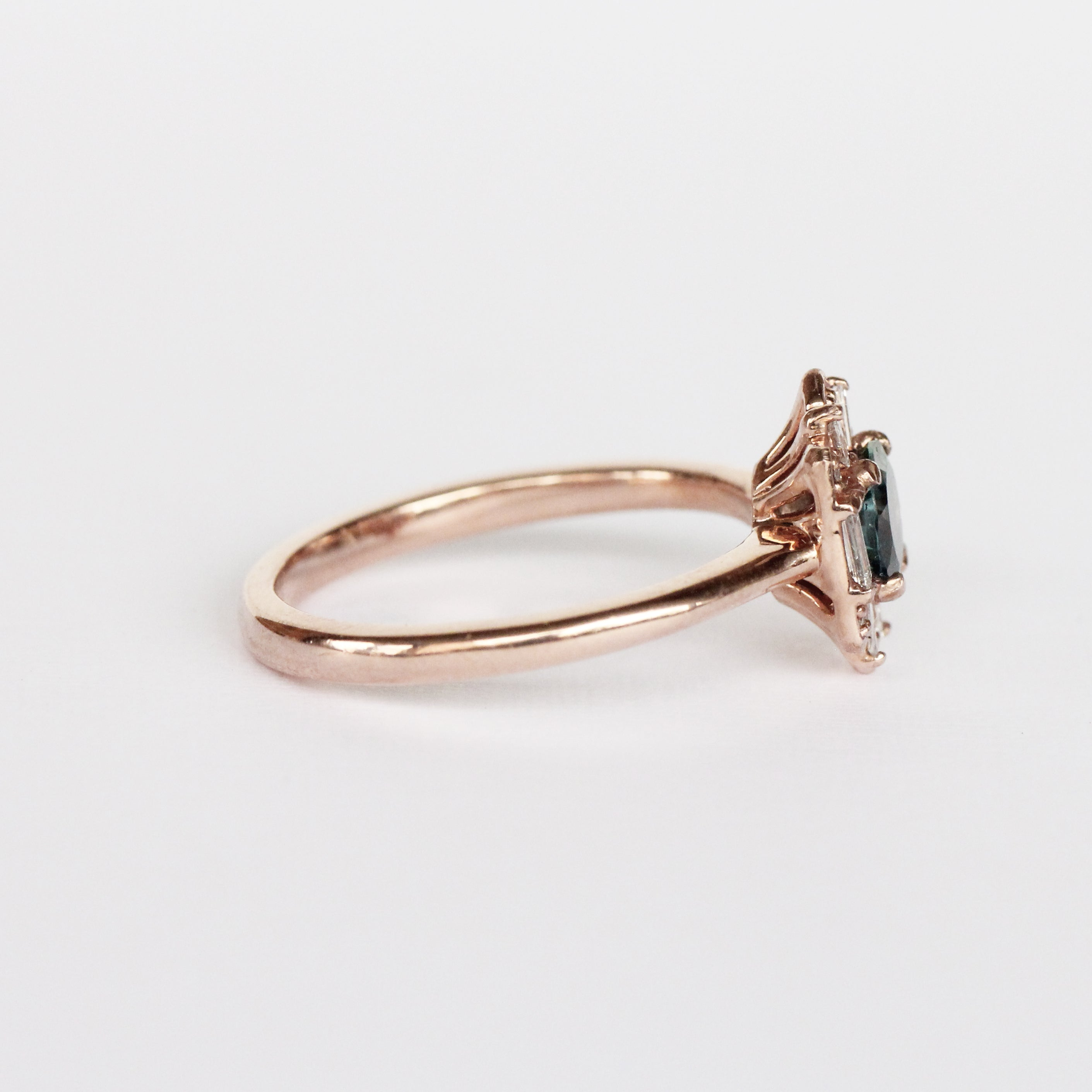 Geraldine Ring with a Peacock Sapphire and Diamond Accents in 10k Rose Gold - Ready to Size and Ship - Celestial Diamonds ® by Midwinter Co.