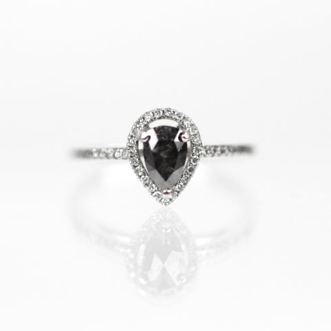 Giana Ring - Black Diamond with Halo in 14k White Gold - Ready to Size and Ship