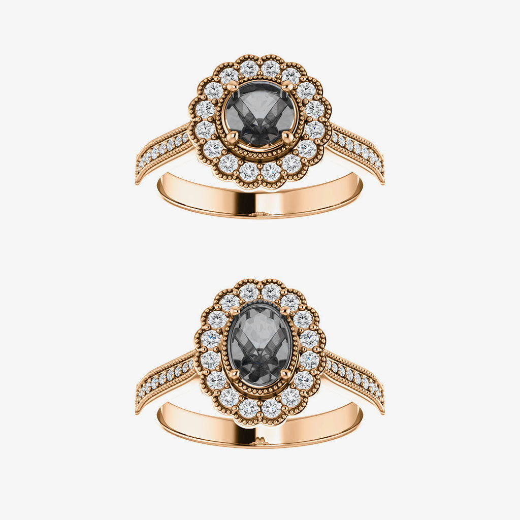 Gloriana Setting - Halo - Salt & Pepper Celestial Diamond Engagement Rings and Wedding Bands  by Midwinter Co.