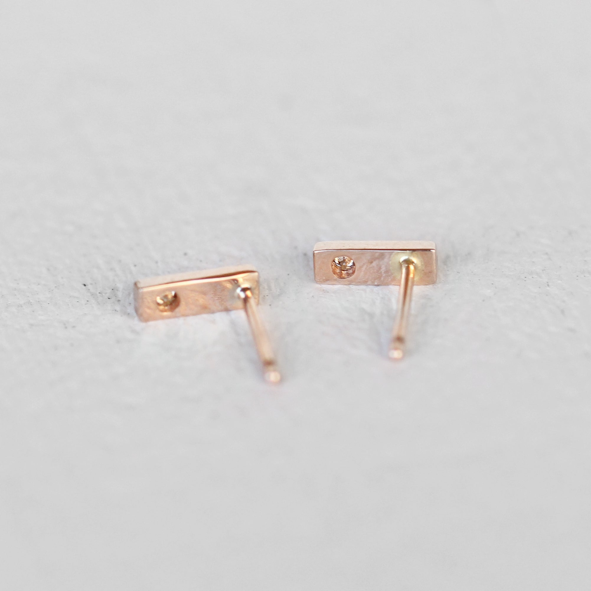 Chantell Earrings - Diamond and 14k Gold Bar Earrings- Ready to Ship - Salt & Pepper Celestial Diamond Engagement Rings and Wedding Bands  by Midwinter Co.