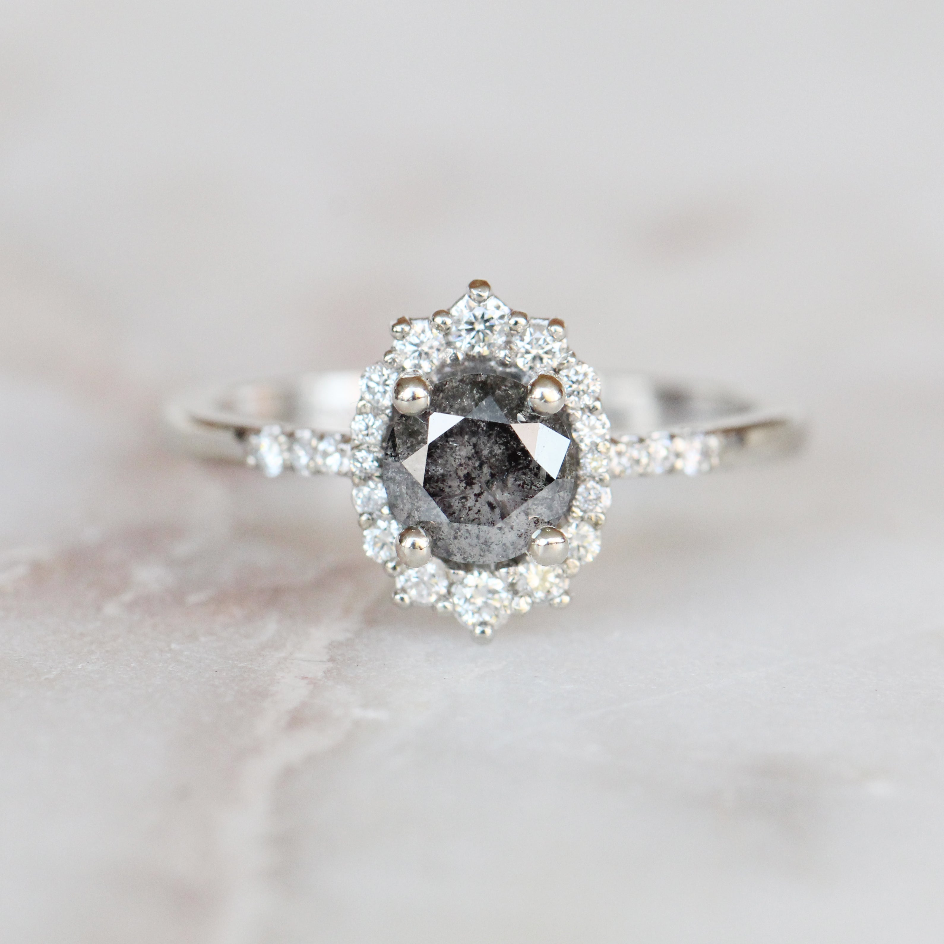 Grace Ring with a 0.79 Carat Celestial Diamond with Accents in 10k White - Ready to Size and Ship - Salt & Pepper Celestial Diamond Engagement Rings and Wedding Bands  by Midwinter Co.