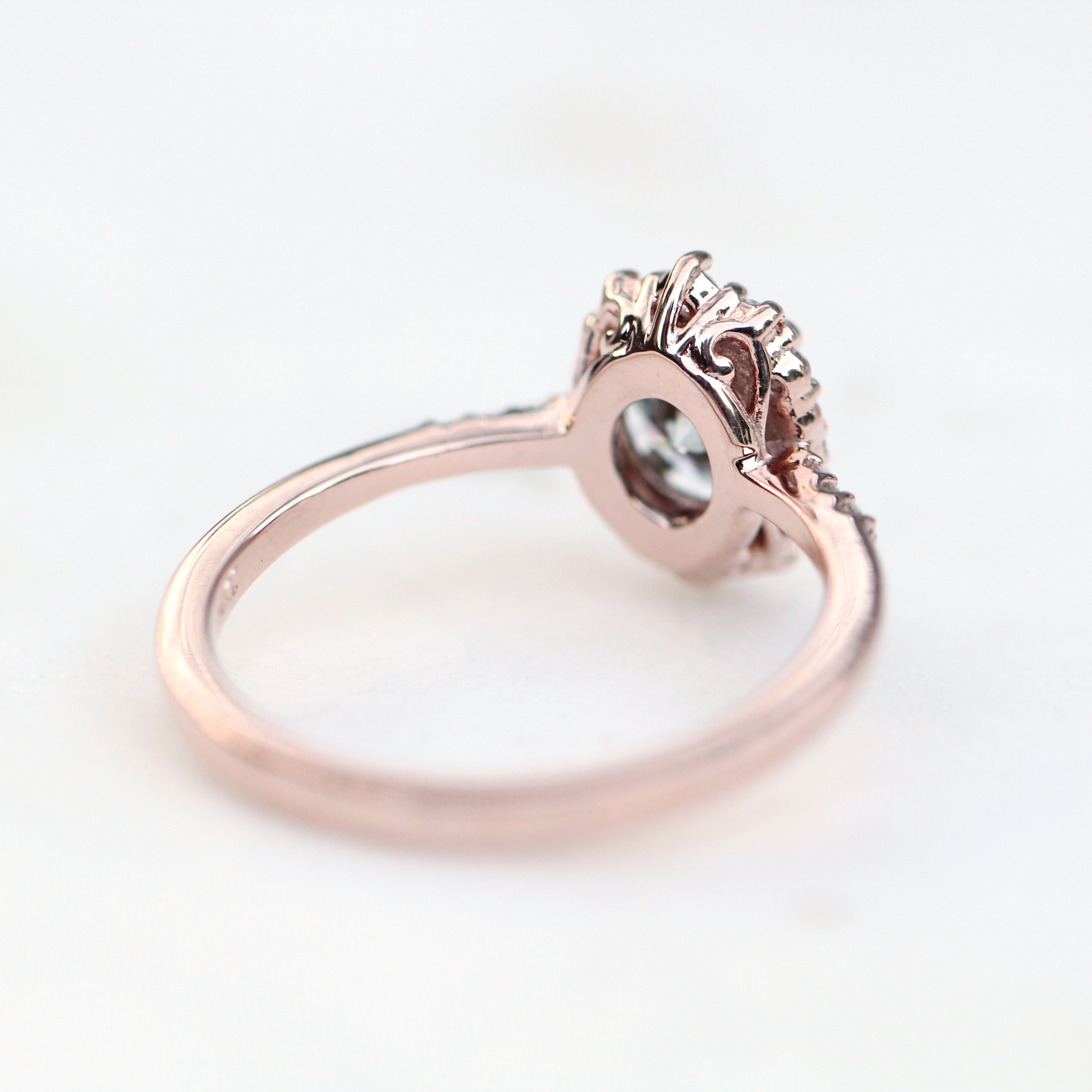 Grace Ring with a 0.75 Carat Gray Moissanite Surrounded by White Diamond Accents in 14k Rose Gold - Ready to Size and Ship - Midwinter Co. Alternative Bridal Rings and Modern Fine Jewelry