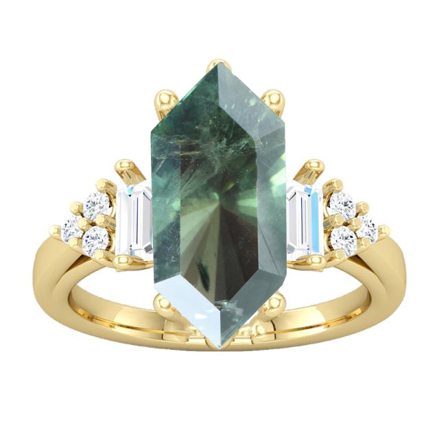 3.80 Carat Brilliant Teal Sapphire  for Custom Work - Inventory Code HEX38 - Celestial Diamonds ® by Midwinter Co.