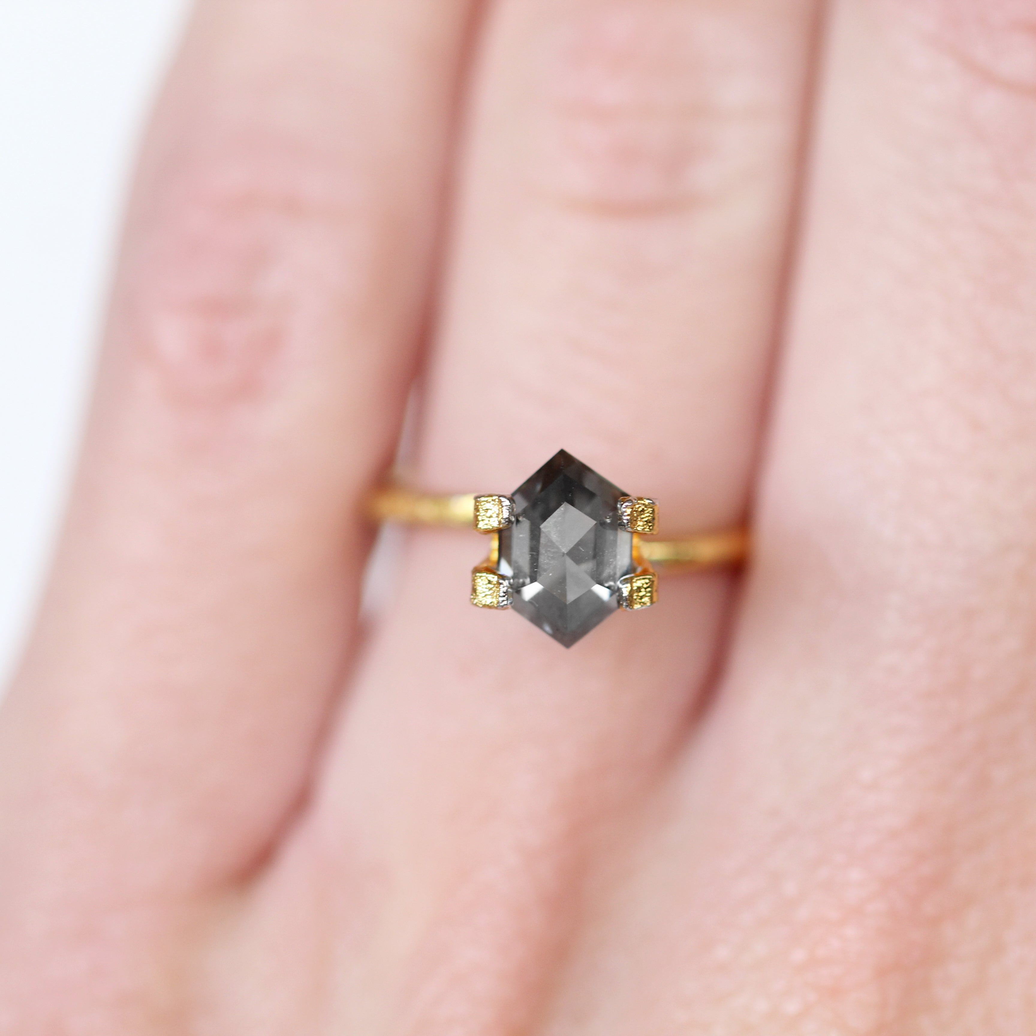 1.15 Carat Hexagon Moissanite - Inventory Code HXMOI115 - Midwinter Co. Alternative Bridal Rings and Modern Fine Jewelry