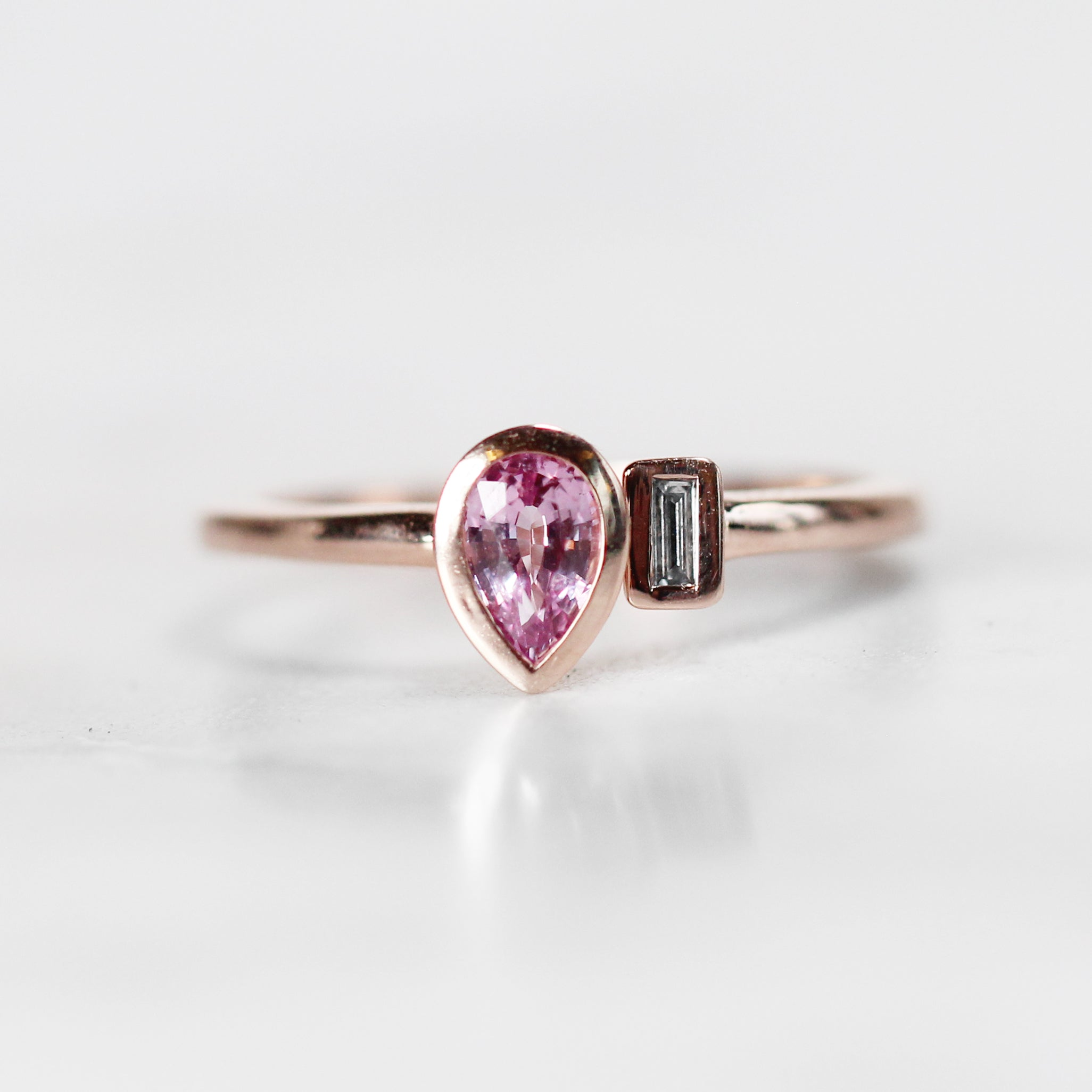 Hazel Ring with Pink Sapphire Pear and Diamond Baguette - Your choice of 14k gold - Celestial Diamonds ® by Midwinter Co.