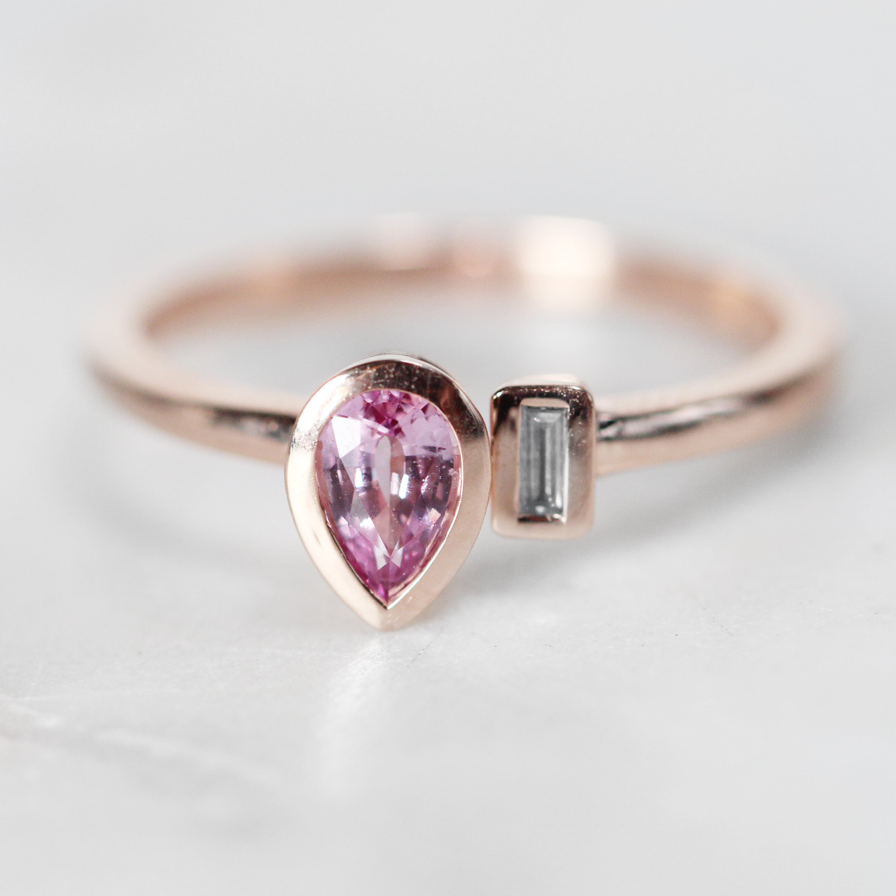 Hazel Ring with Pink Sapphire Pear and Diamond Baguette - Your choice of 14k gold - Salt & Pepper Celestial Diamond Engagement Rings and Wedding Bands  by Midwinter Co.