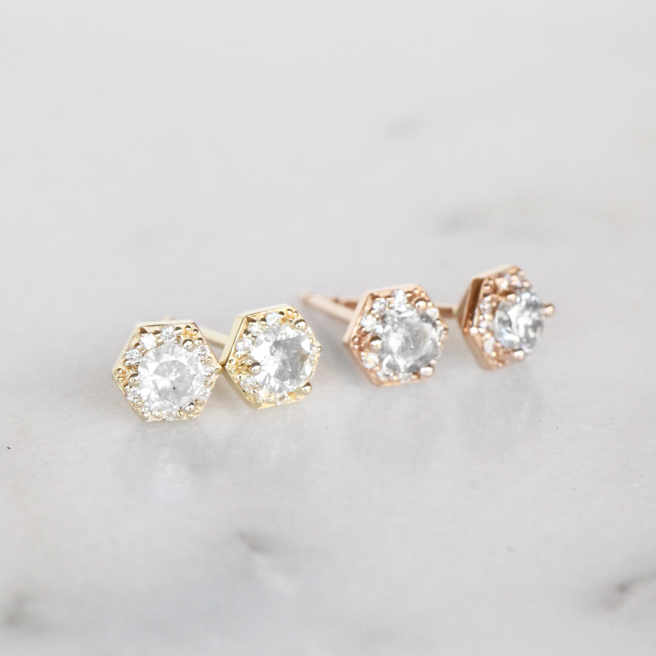 .35 Carat Hexagon Halo Earrings Stud Pair with Light Gray Celestial Diamonds in 14k gold- Ready to Ship - Midwinter Co. Alternative Bridal Rings and Modern Fine Jewelry