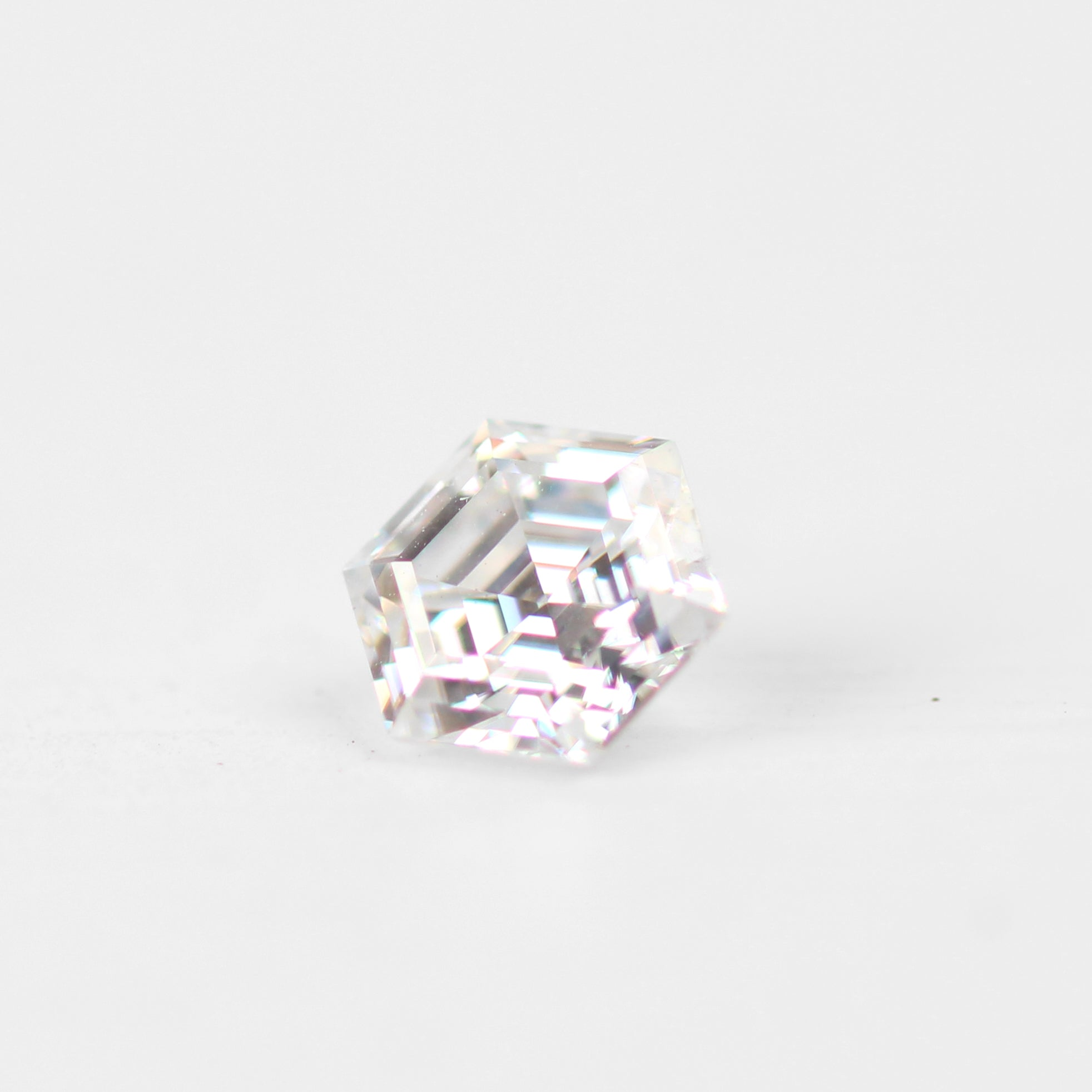 6mm Clear Hexagon Moissanite - Inventory Code MHEX1 - Salt & Pepper Celestial Diamond Engagement Rings and Wedding Bands  by Midwinter Co.