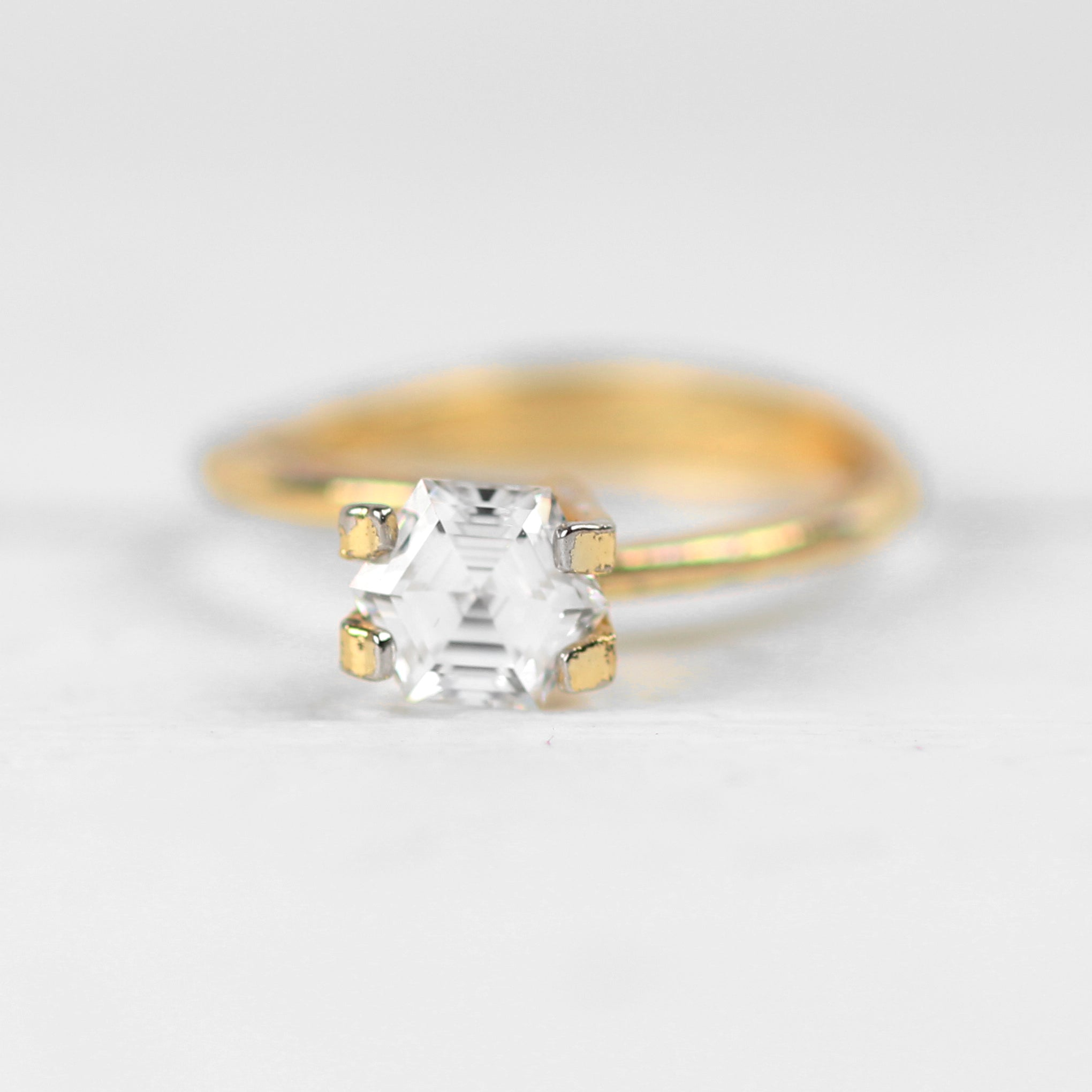 6mm Clear Hexagon Moissanite - Inventory Code MHEX1 - Midwinter Co. Alternative Bridal Rings and Modern Fine Jewelry